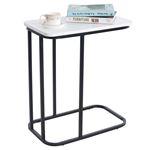 Table d'appoint rectangulaire RECIFE, en métal noir et décor blanc mat
