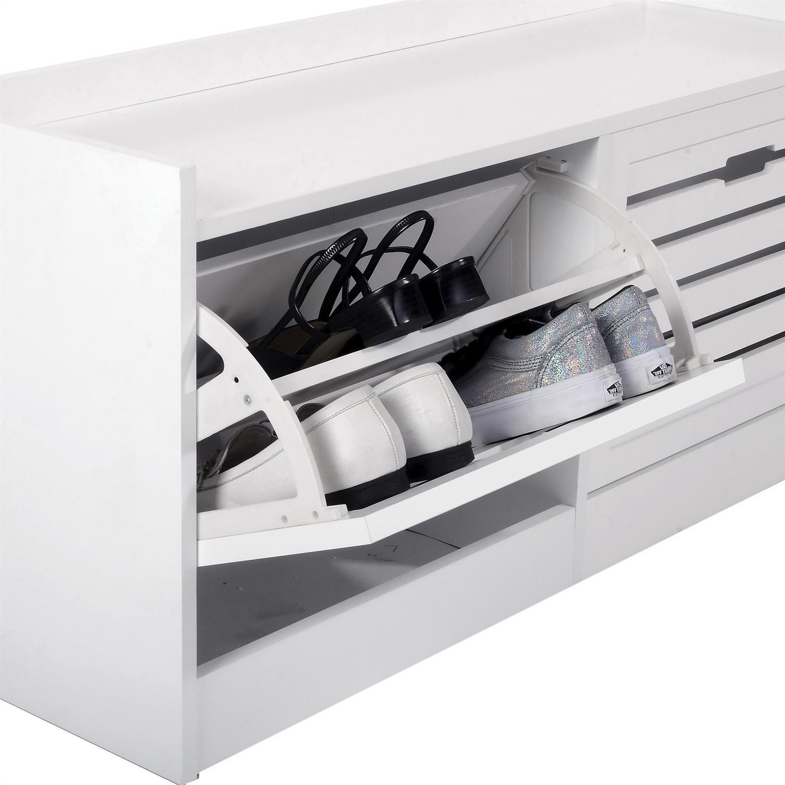 banc de rangement pour chaussures udine 2 abattants blanc mat mobil meubles. Black Bedroom Furniture Sets. Home Design Ideas