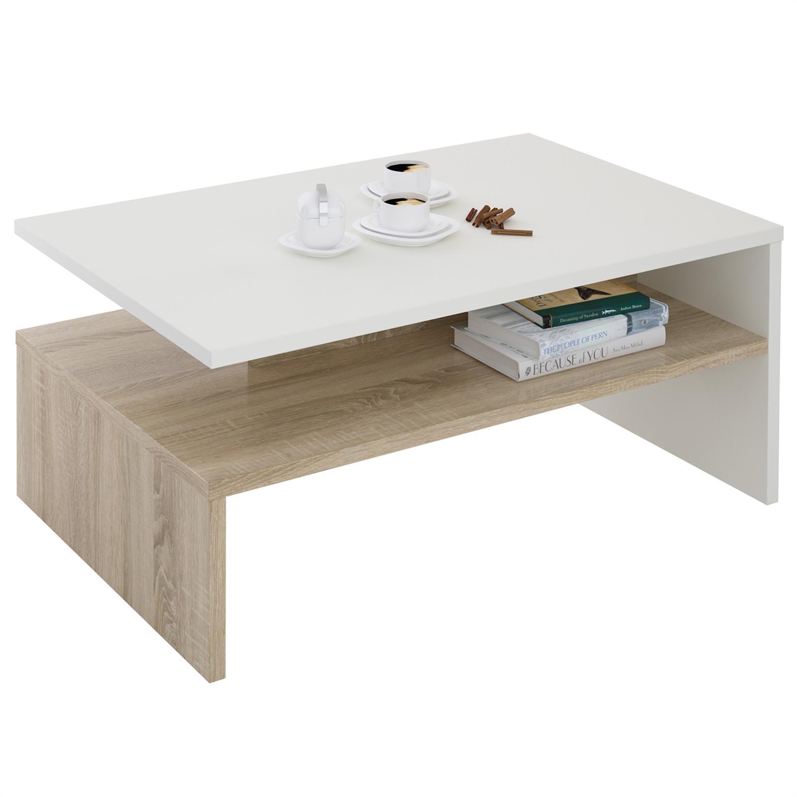 table basse adelaide en m lamin blanc mat et d cor ch ne. Black Bedroom Furniture Sets. Home Design Ideas