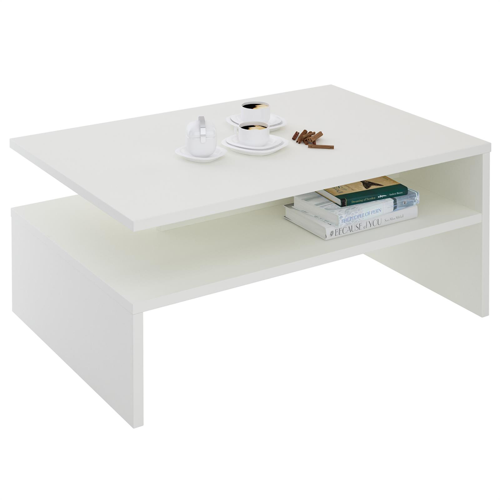 Table basse adelaide m lamin blanc mat mobil meubles for Meuble melamine blanc
