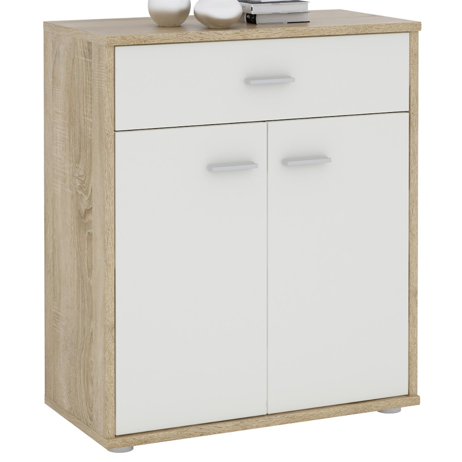 buffet monaco m lamin ch ne sonoma et blanc mat mobil meubles. Black Bedroom Furniture Sets. Home Design Ideas