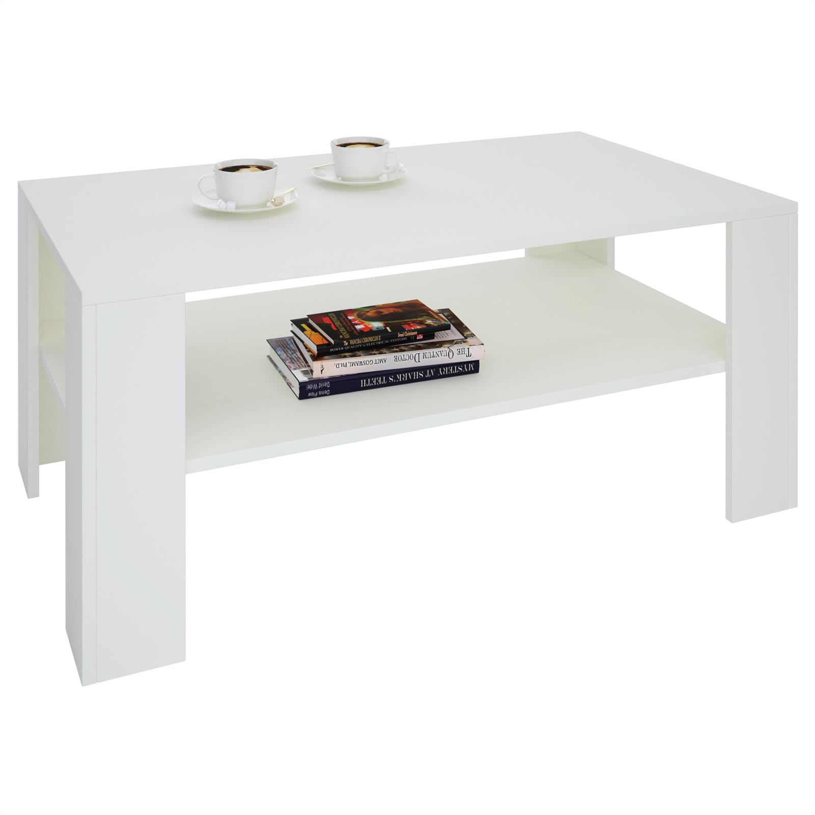 Table basse lorient m lamin blanc mat mobil meubles for Table blanc mat