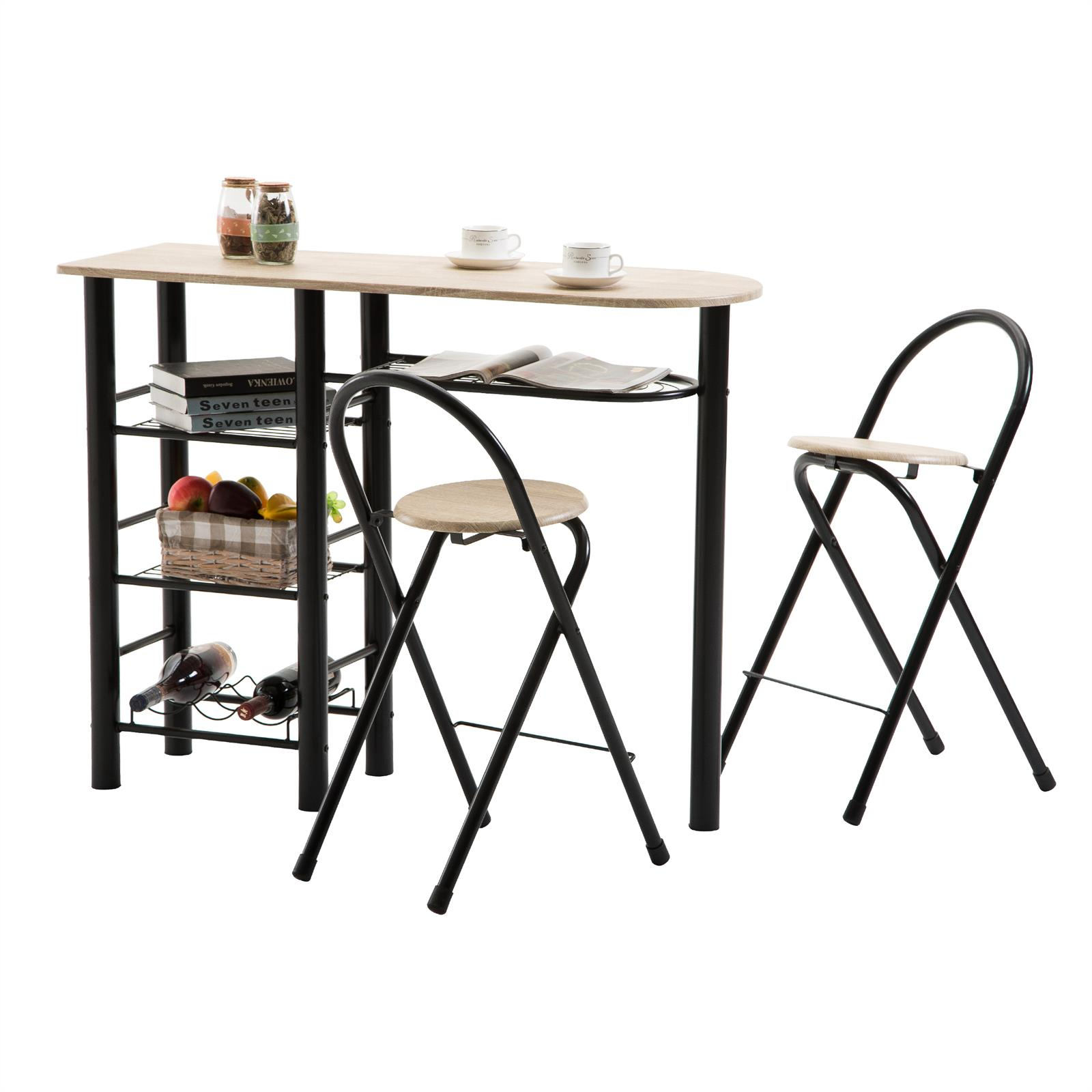 ensemble table haute de bar et 2 chaises style d cor ch ne sonoma et noir mobil meubles. Black Bedroom Furniture Sets. Home Design Ideas