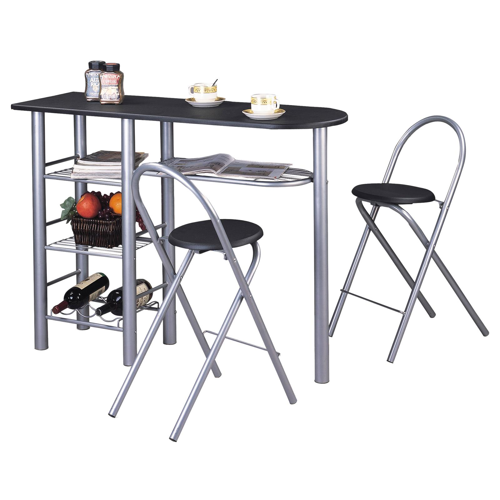 ensemble table haute de bar et 2 chaises style noir mat mobil meubles. Black Bedroom Furniture Sets. Home Design Ideas