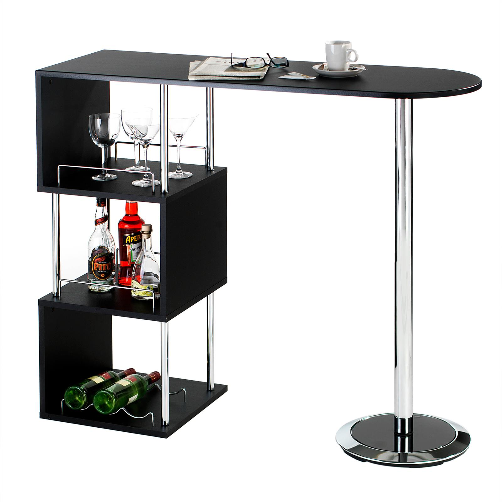table haute de bar mange-debout comptoir 3 tablettes mdf | ebay