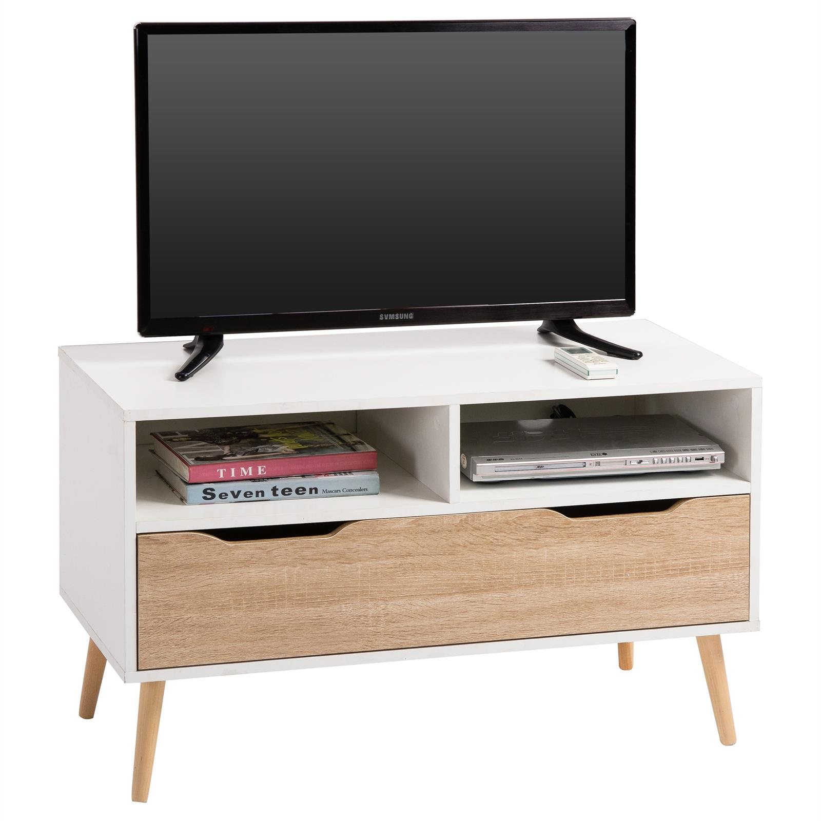 meuble tv genova d cor blanc et ch ne sonoma mobil meubles. Black Bedroom Furniture Sets. Home Design Ideas