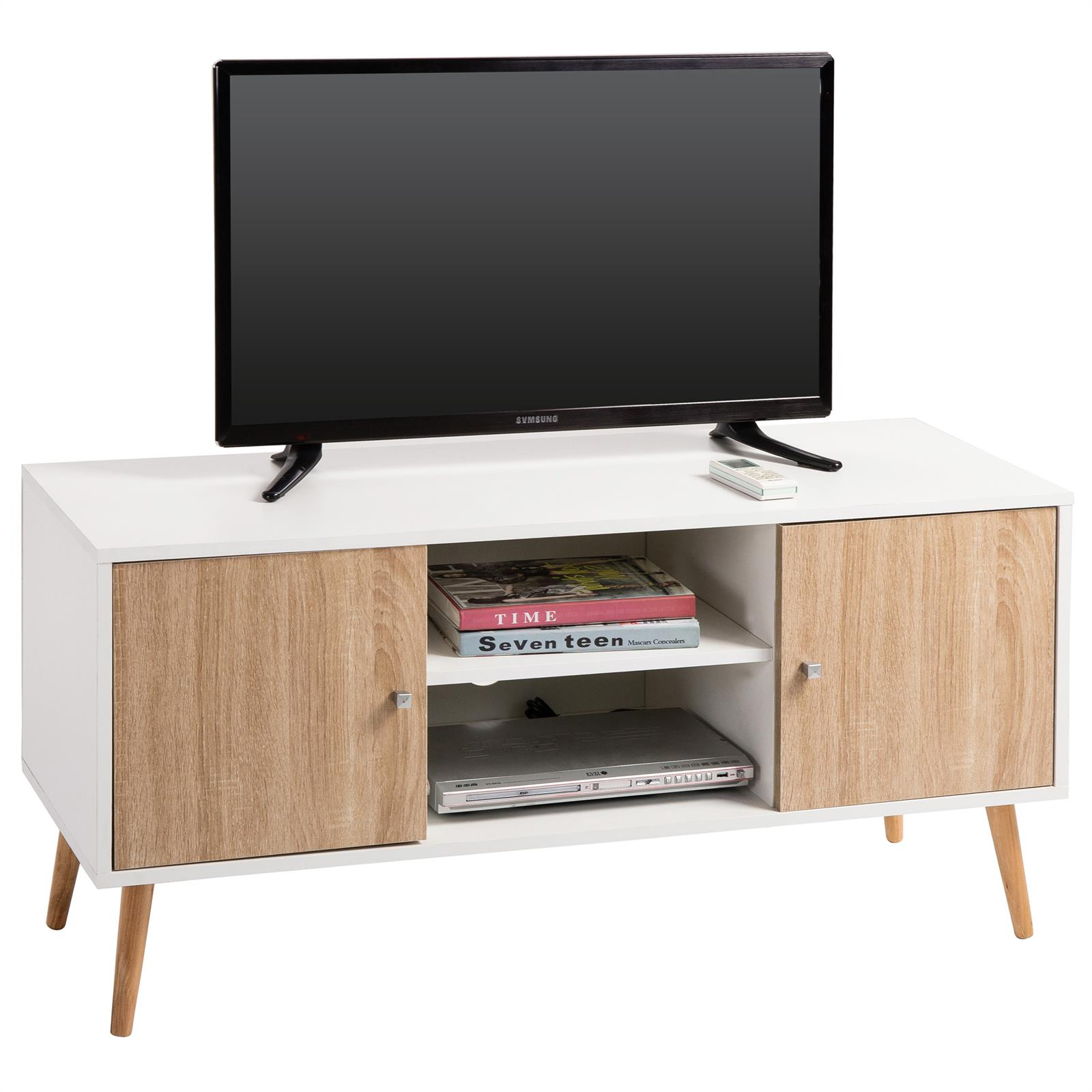 meuble tv murcia d cor blanc et ch ne sonoma mobil. Black Bedroom Furniture Sets. Home Design Ideas