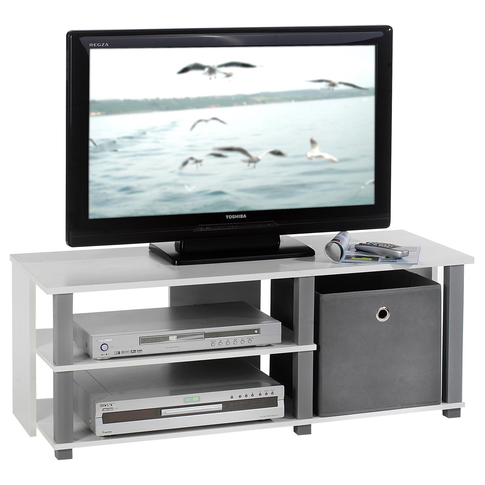 meuble tv denver blanc et gris mobil meubles. Black Bedroom Furniture Sets. Home Design Ideas