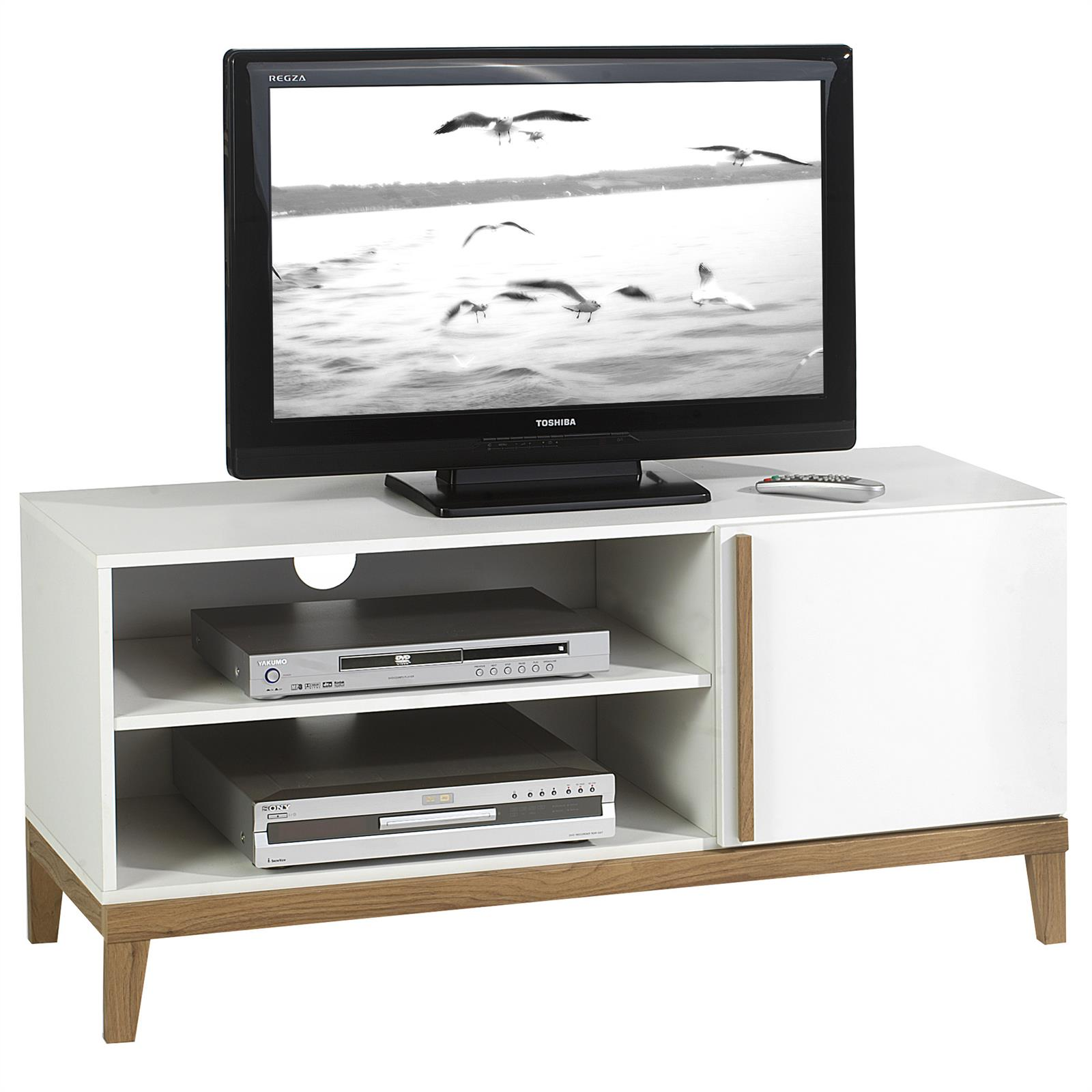 Meuble tv riga 2 niches 1 porte blanc et bois mobil for Meuble tv porte