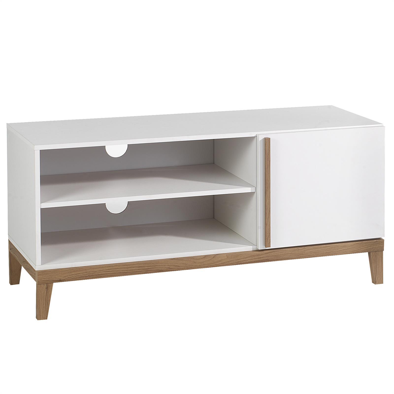 Meuble tv riga 2 niches 1 porte blanc et bois mobil for Meuble bois et blanc