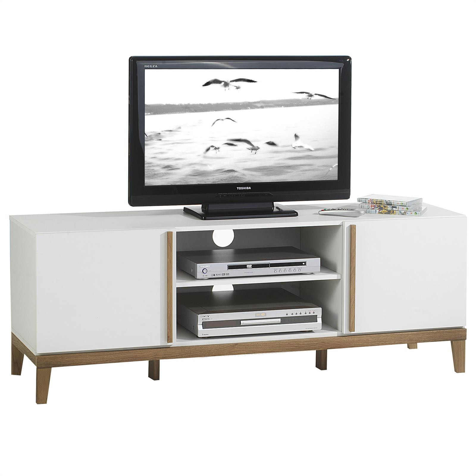 meuble tv riga 2 niches 2 portes blanc et bois mobil meubles. Black Bedroom Furniture Sets. Home Design Ideas