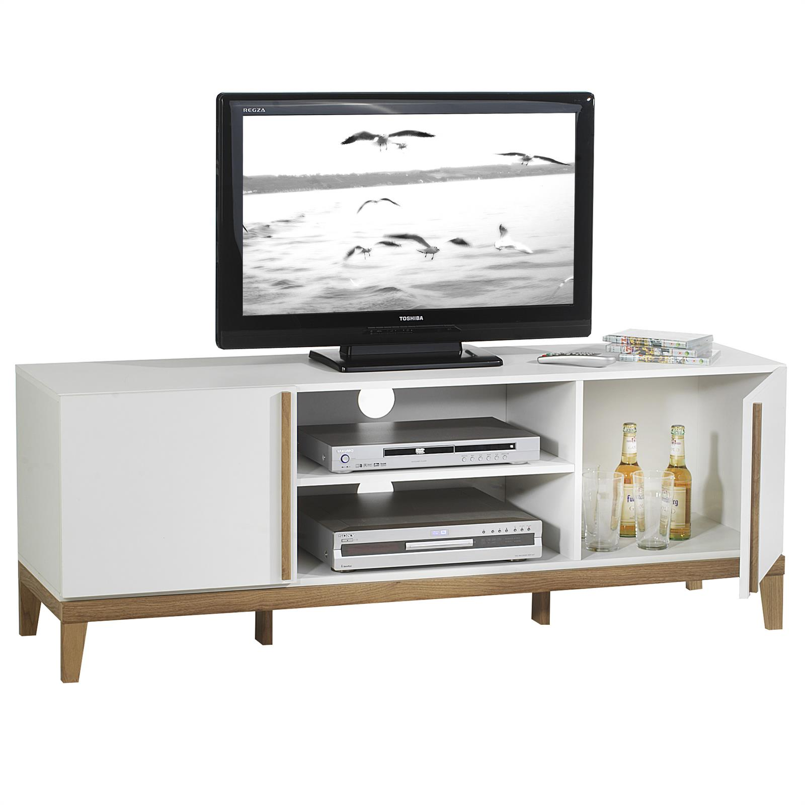 meuble tv riga 2 niches 2 portes blanc et bois mobil. Black Bedroom Furniture Sets. Home Design Ideas