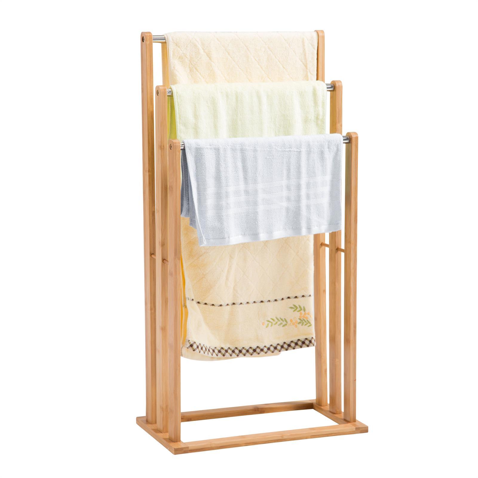 Porte serviettes melton en bambou finition naturelle mobil meubles - Set salle de bain bambou ...