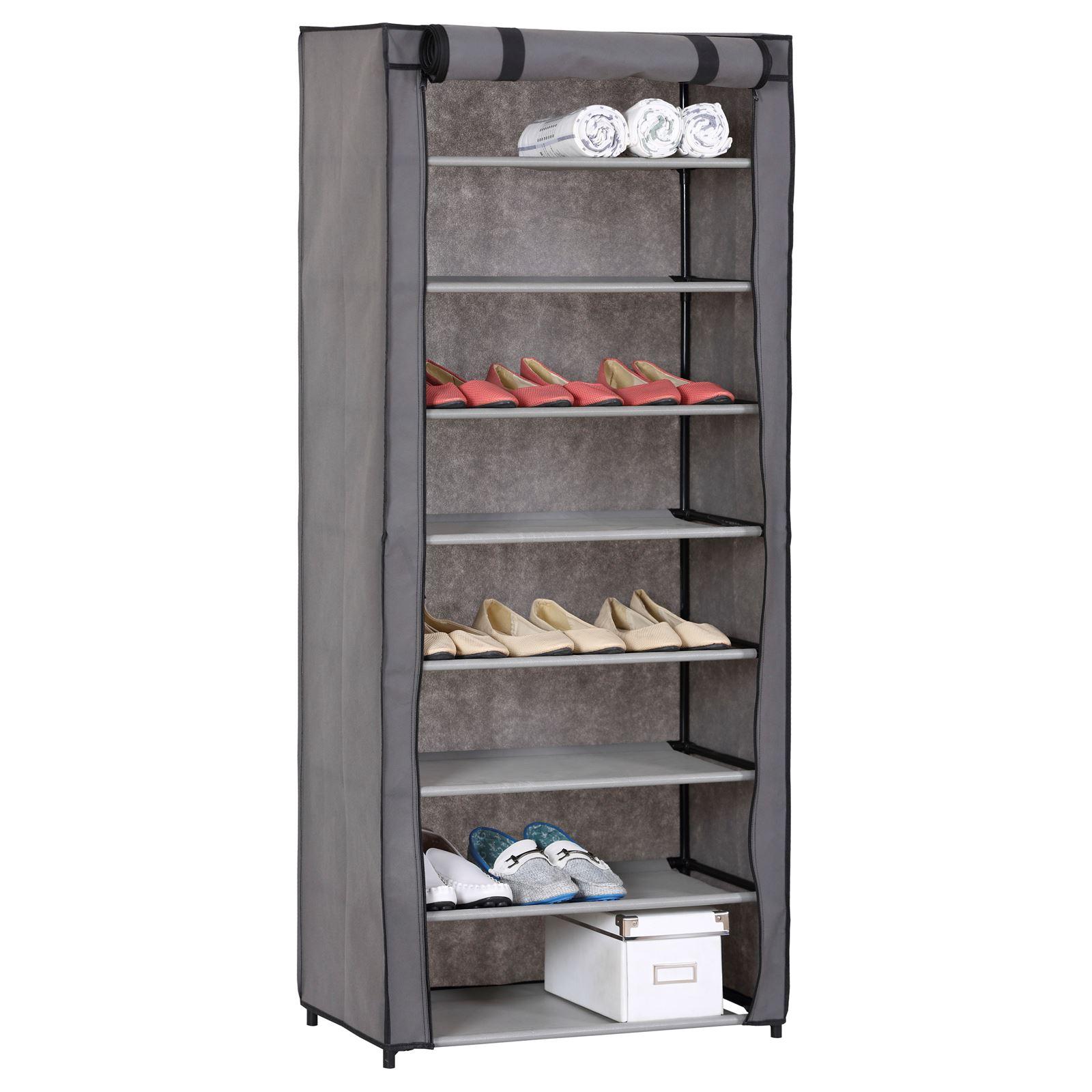 meuble chaussures en tissu tamara 8 tablettes mobil. Black Bedroom Furniture Sets. Home Design Ideas