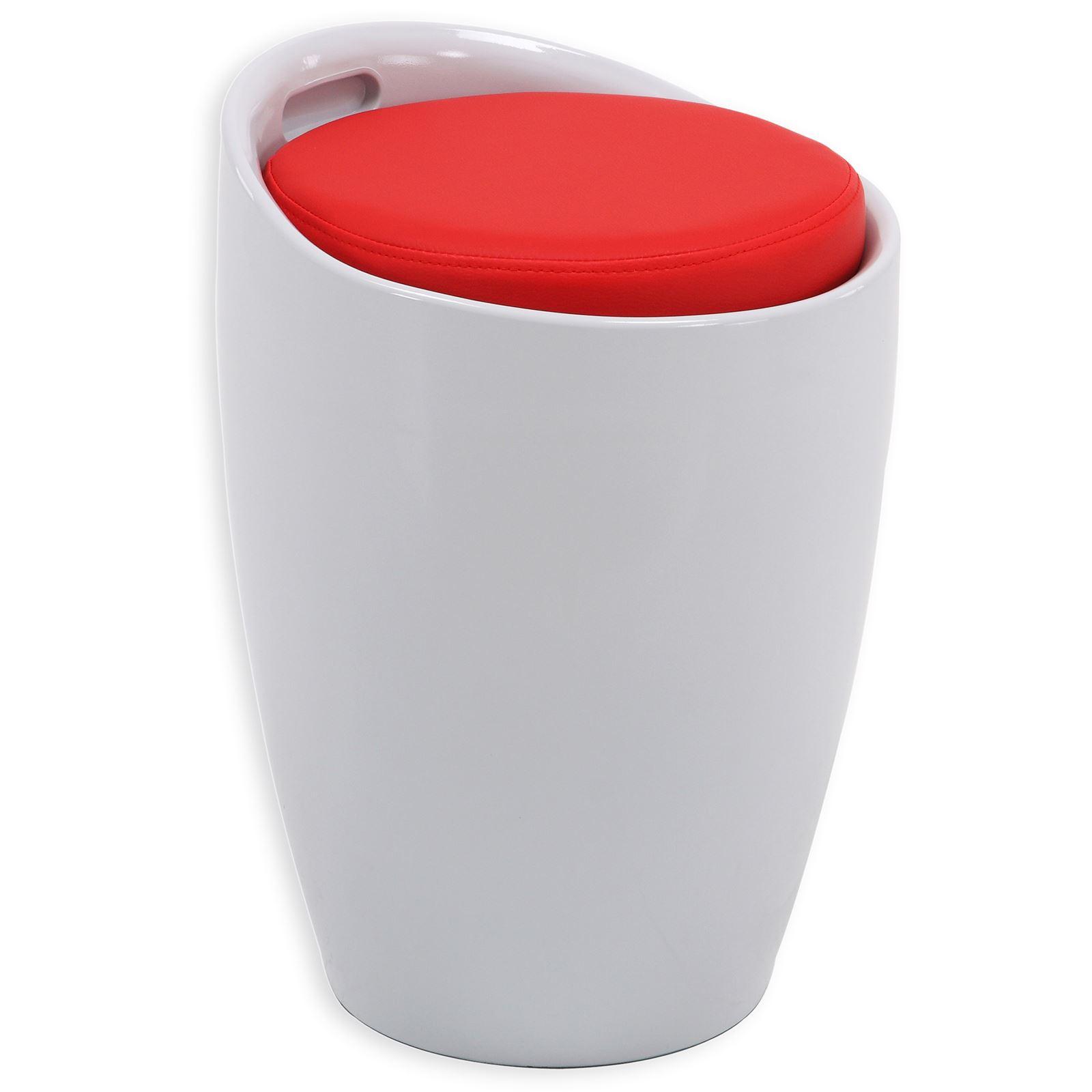 tabouret coffre de rangement daniel blanc rouge mobil meubles. Black Bedroom Furniture Sets. Home Design Ideas