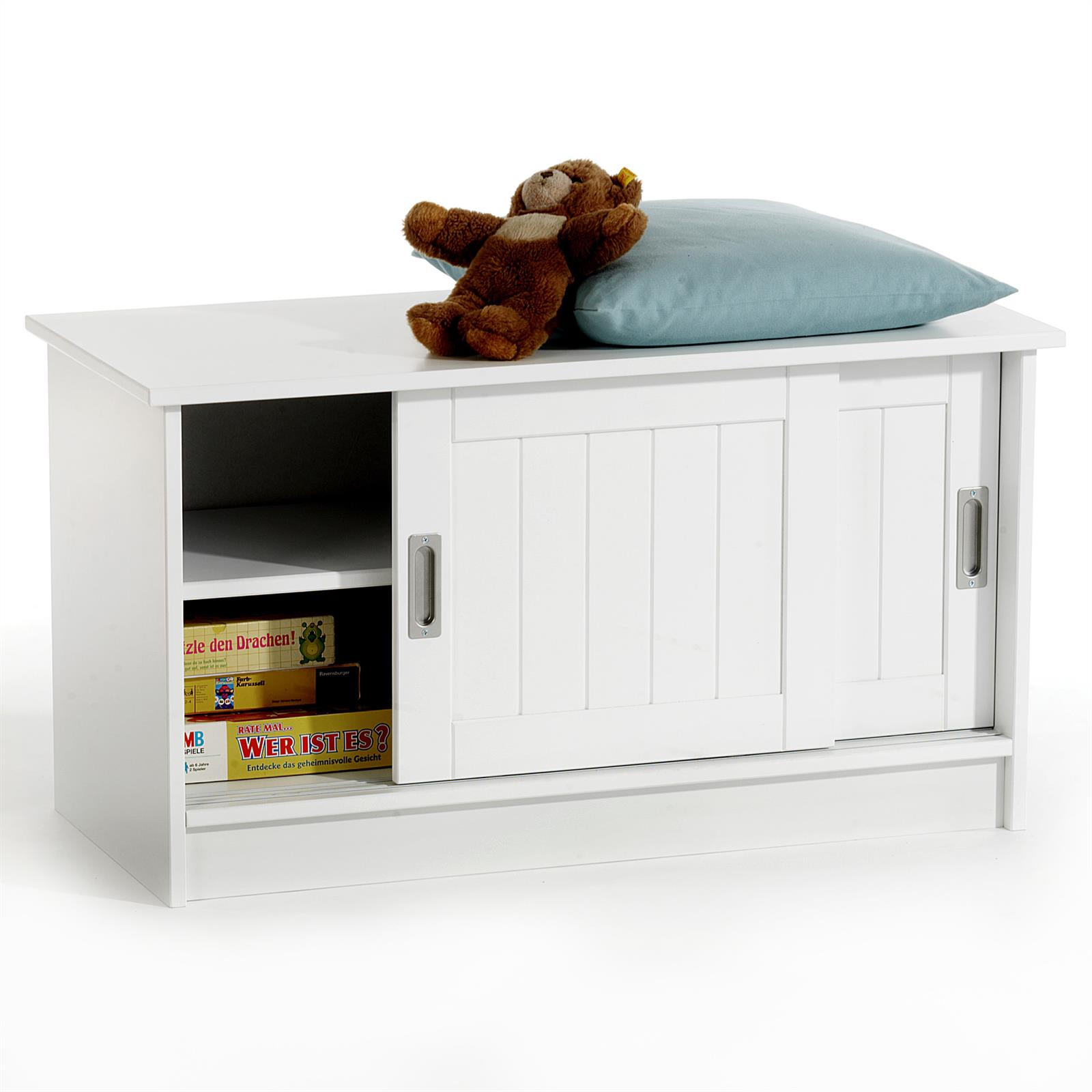 Banc de rangement hein laqu blanc mobil meubles - Meuble coffre rangement chaussures fonction banc ...