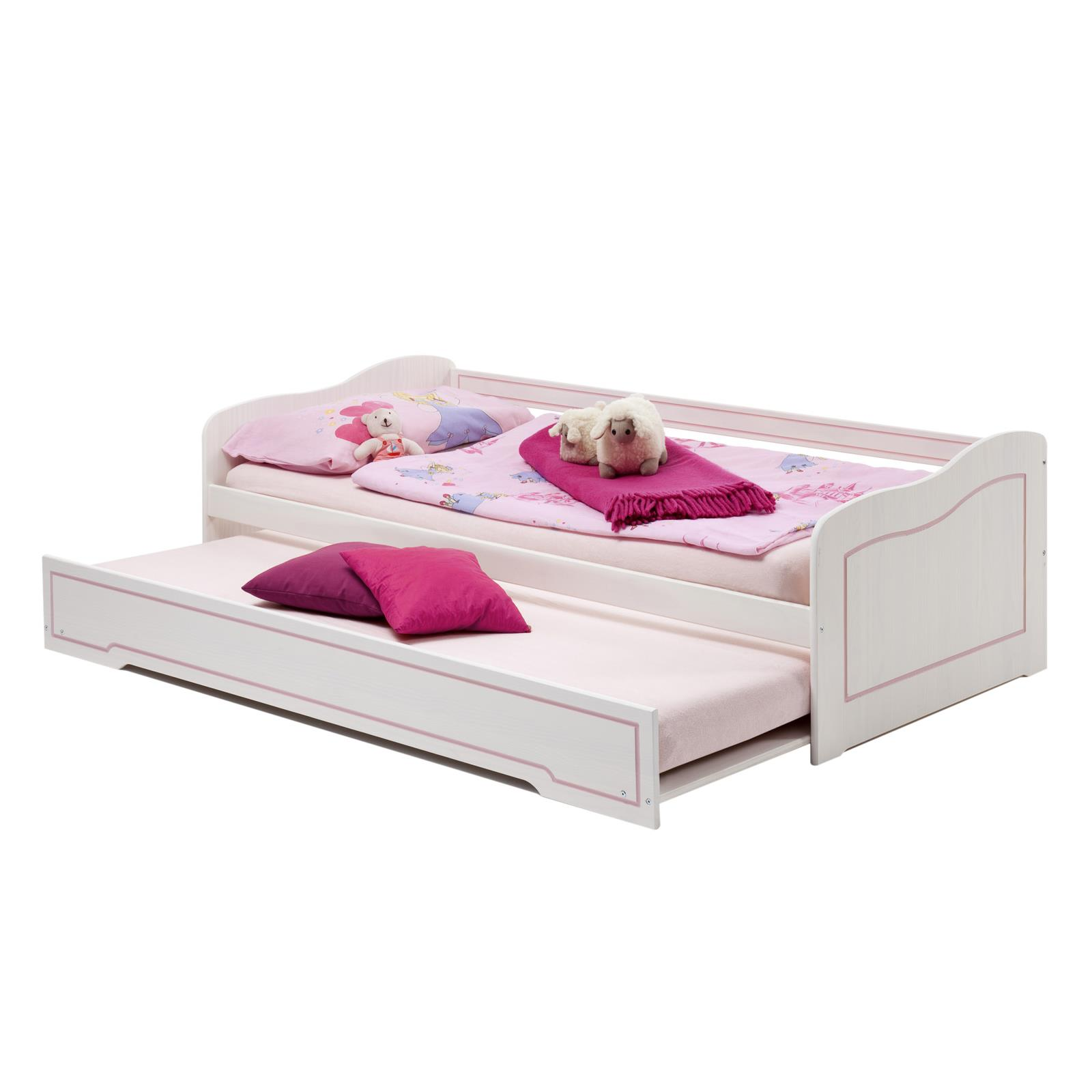 lit gigogne en pin stella 90 x 200 cm lasur blanc rose mobil meubles. Black Bedroom Furniture Sets. Home Design Ideas