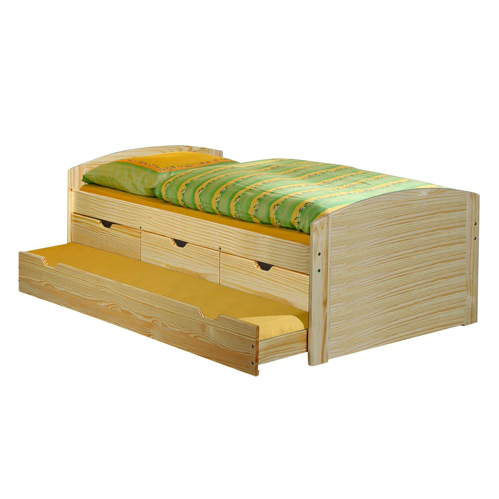 Lit gigogne en pin julia 90 x 200 cm vernis naturel mobil meubles - Lit gigogne 90 x 200 ...