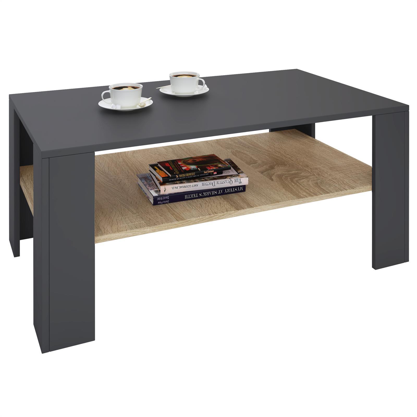 table basse lorient en m lamin gris mat et d cor ch ne. Black Bedroom Furniture Sets. Home Design Ideas