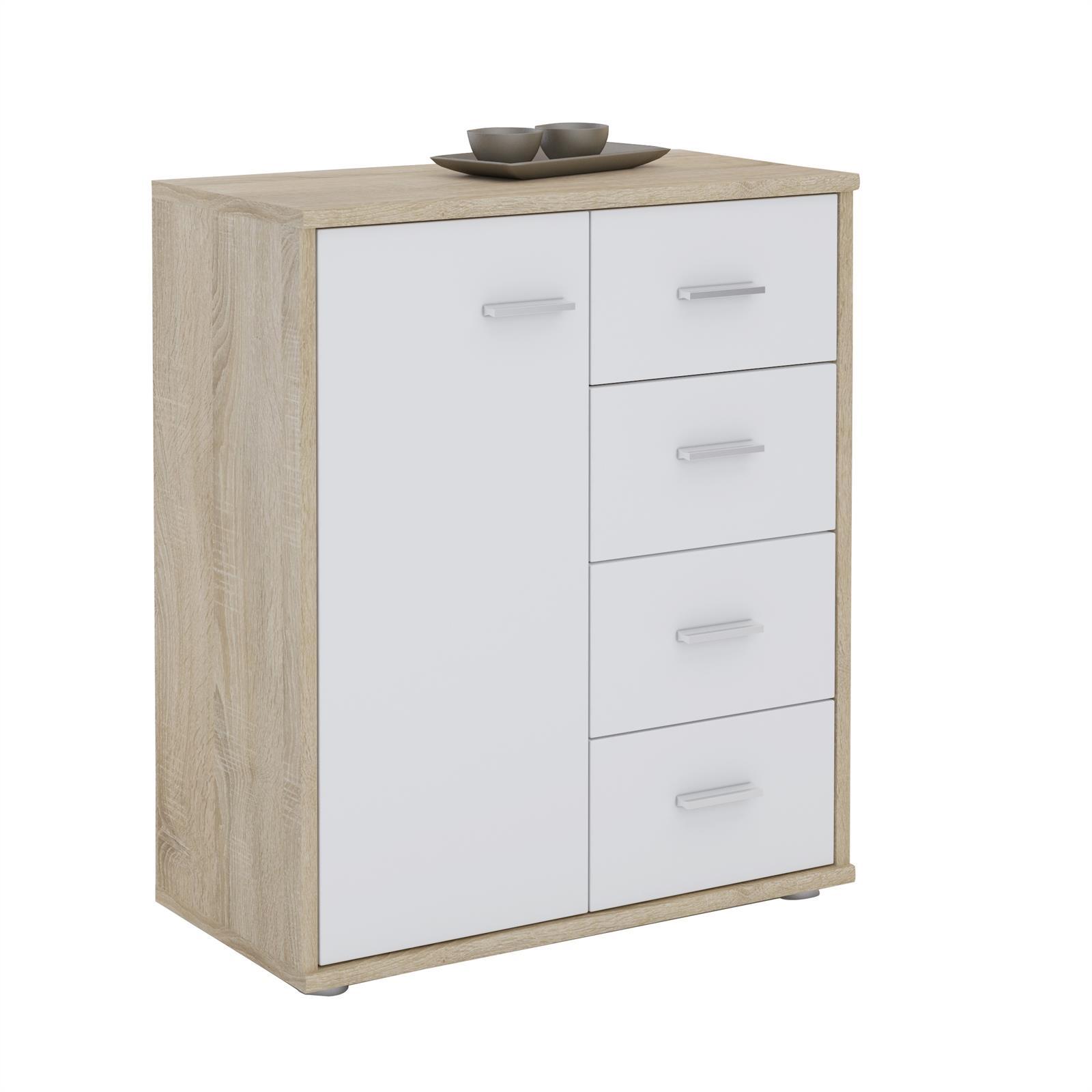 buffet oscar en m lamin d cor ch ne sonoma et blanc mat mobil meubles. Black Bedroom Furniture Sets. Home Design Ideas