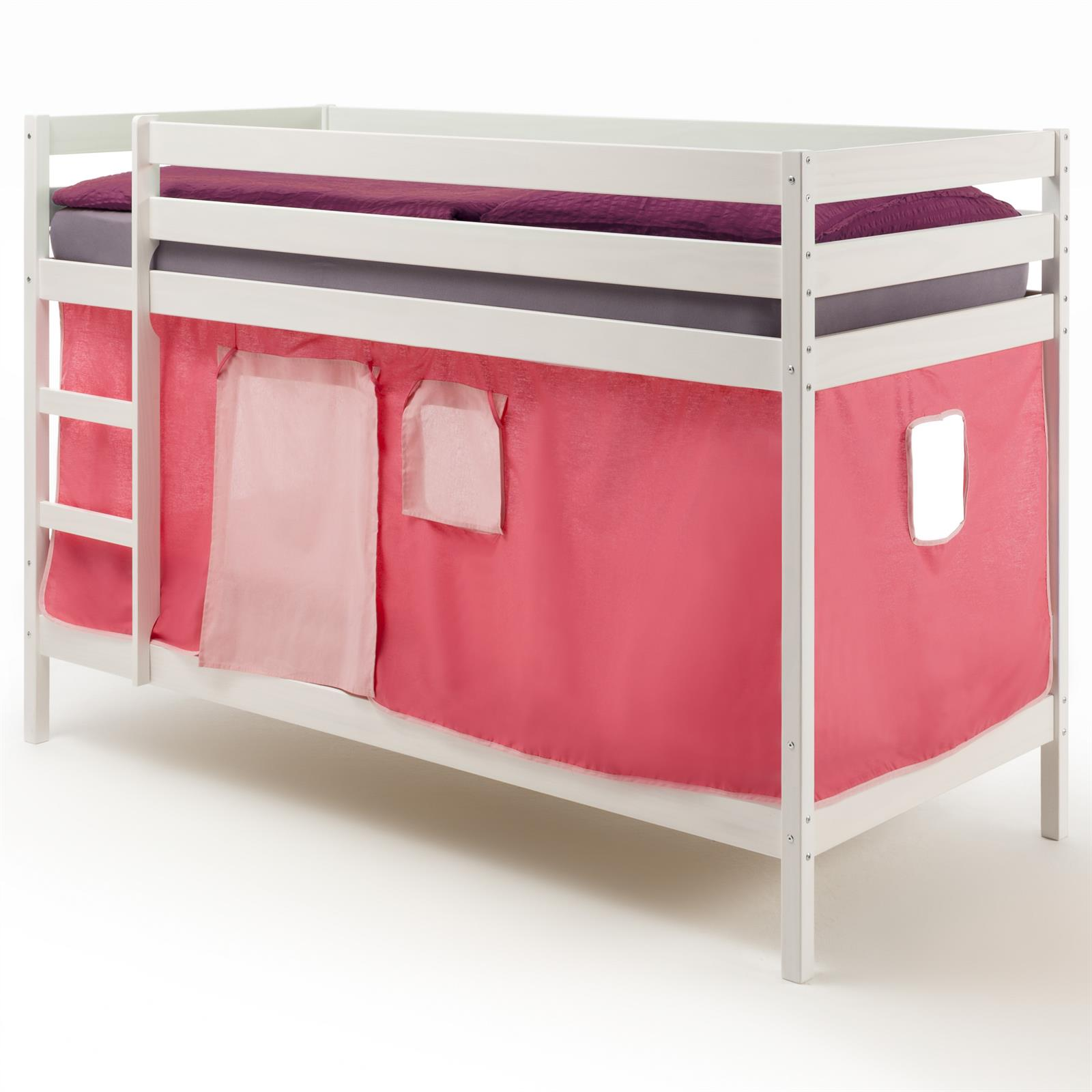 Lits superpos s en pin lasur blanc felix avec rideaux rose mobil meubles - Lit superpose en pin ...