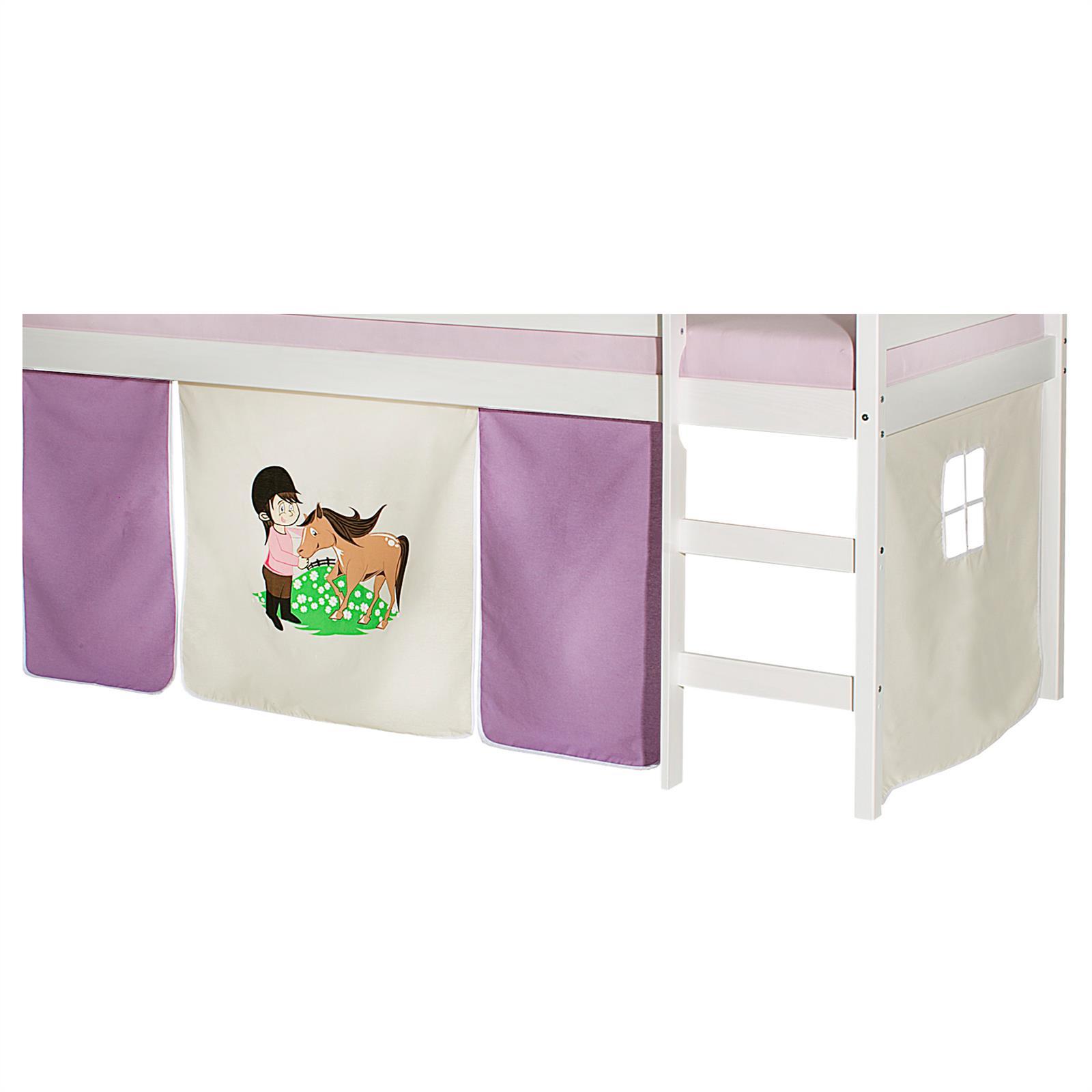 Lot de rideaux pour lit surélevé, motif Poney - | Mobil-Meubles