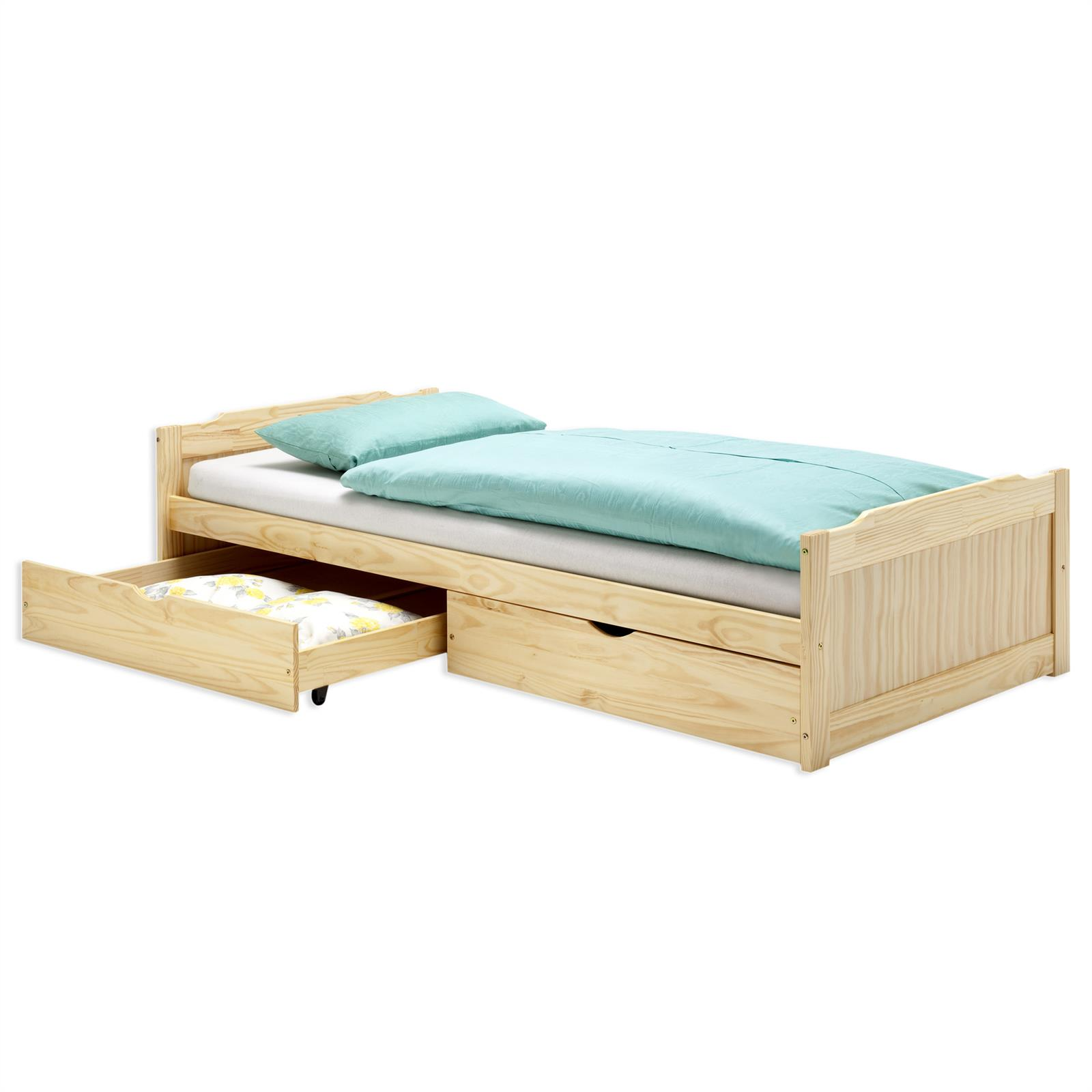 lit fonctionnel en pin fritz 90 x 200 cm vernis naturel mobil meubles. Black Bedroom Furniture Sets. Home Design Ideas