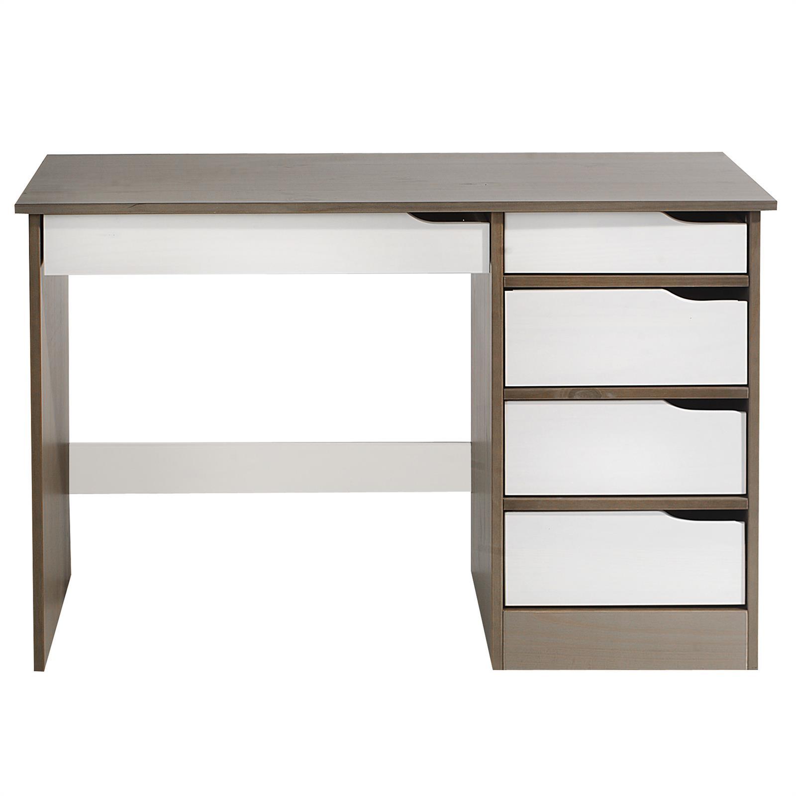 bureau en pin massif hugo lasur taupe et blanc mobil. Black Bedroom Furniture Sets. Home Design Ideas