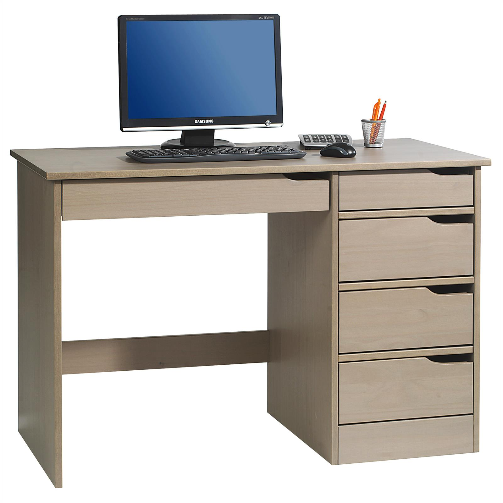 bureau en pin massif hugo lasur taupe mobil meubles. Black Bedroom Furniture Sets. Home Design Ideas