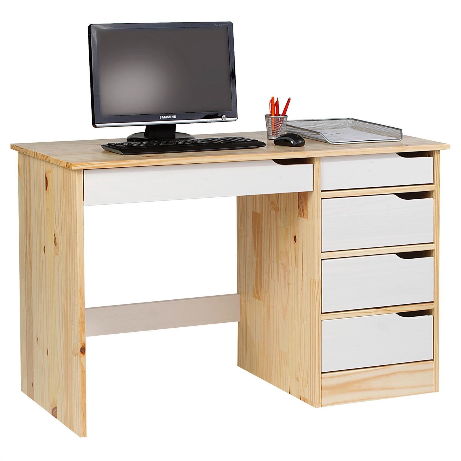 bureau en pin massif hugo naturel et lasur blanc mobil meubles. Black Bedroom Furniture Sets. Home Design Ideas