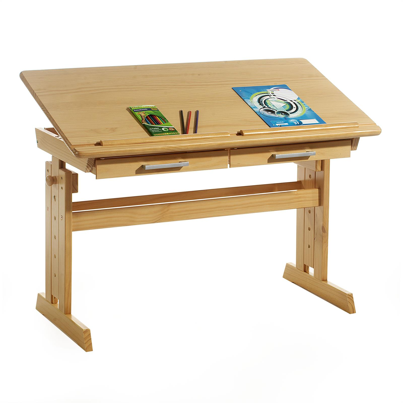 Bureau enfant olivia en pin massif r glable en hauteur for Bureau en pin