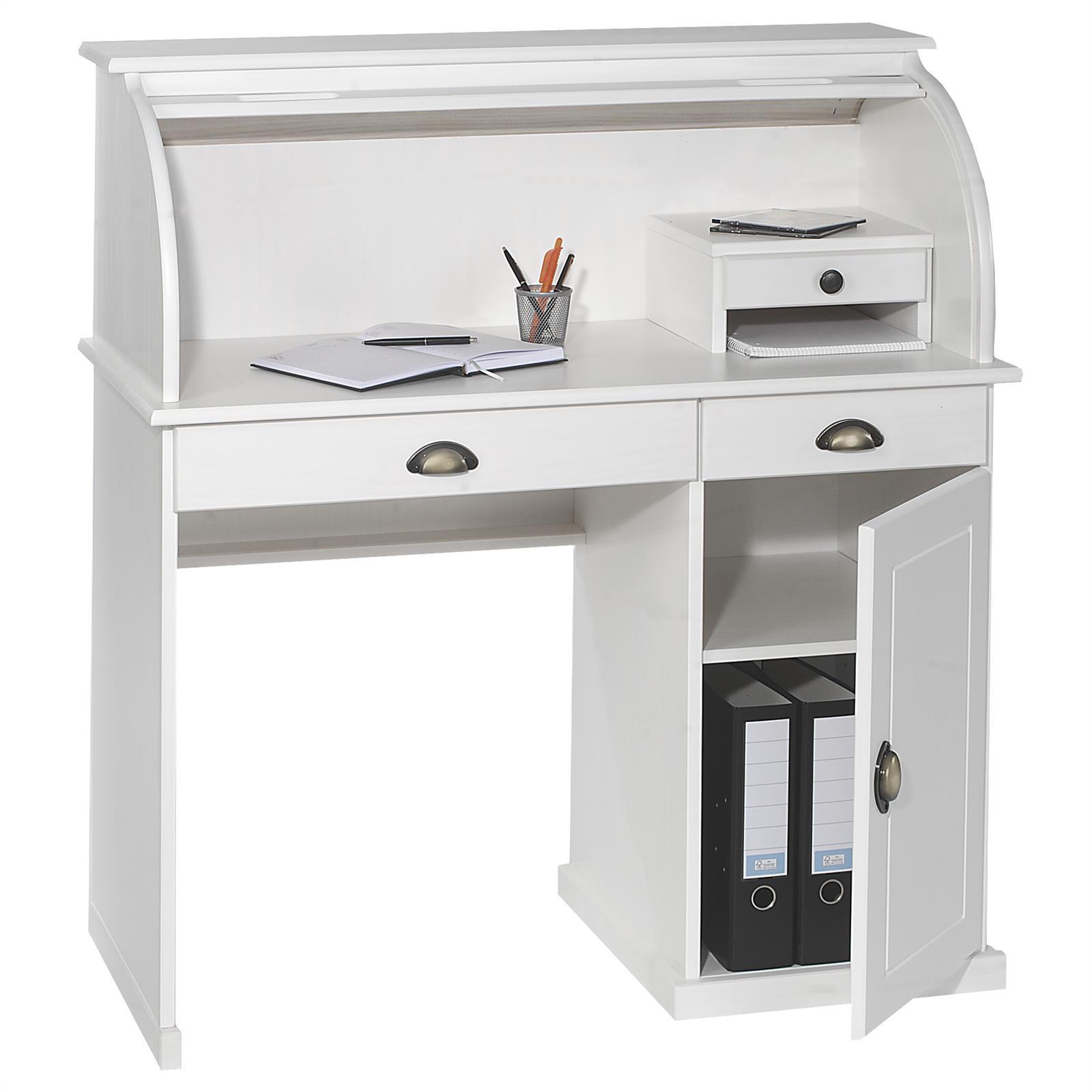 Bureau secr taire dallas lasur blanc mobil meubles for Bureau secretaire blanc