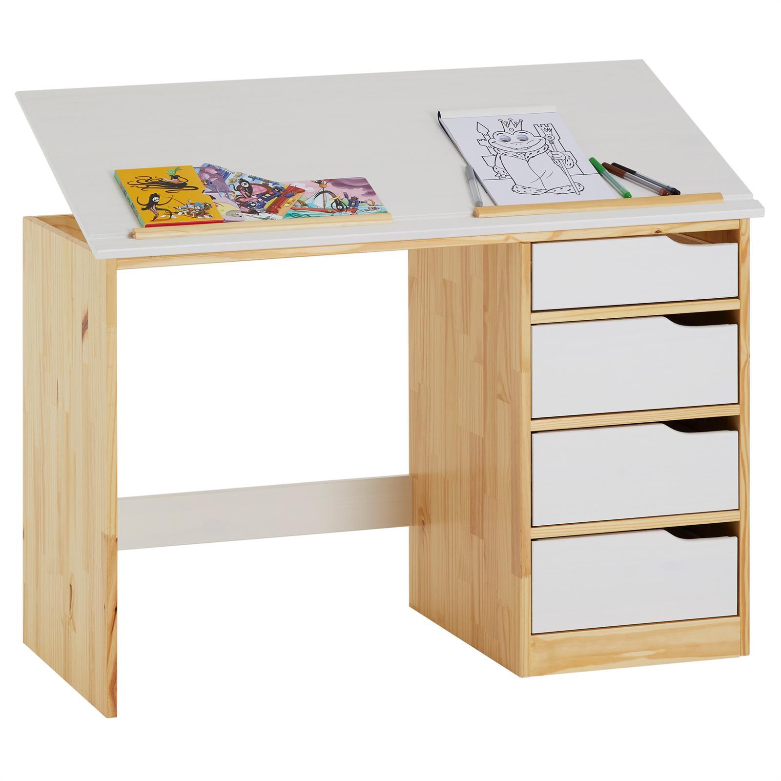 bureau enfant colier junior pupitre inclinable 4 tiroirs pin massif scandinave ebay. Black Bedroom Furniture Sets. Home Design Ideas