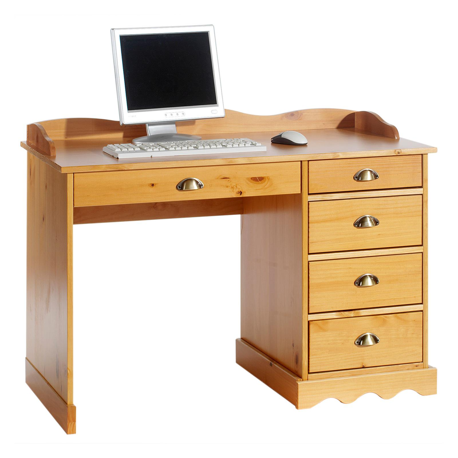 bureau en pin massif colette avec corniche couleur miel mobil meubles. Black Bedroom Furniture Sets. Home Design Ideas