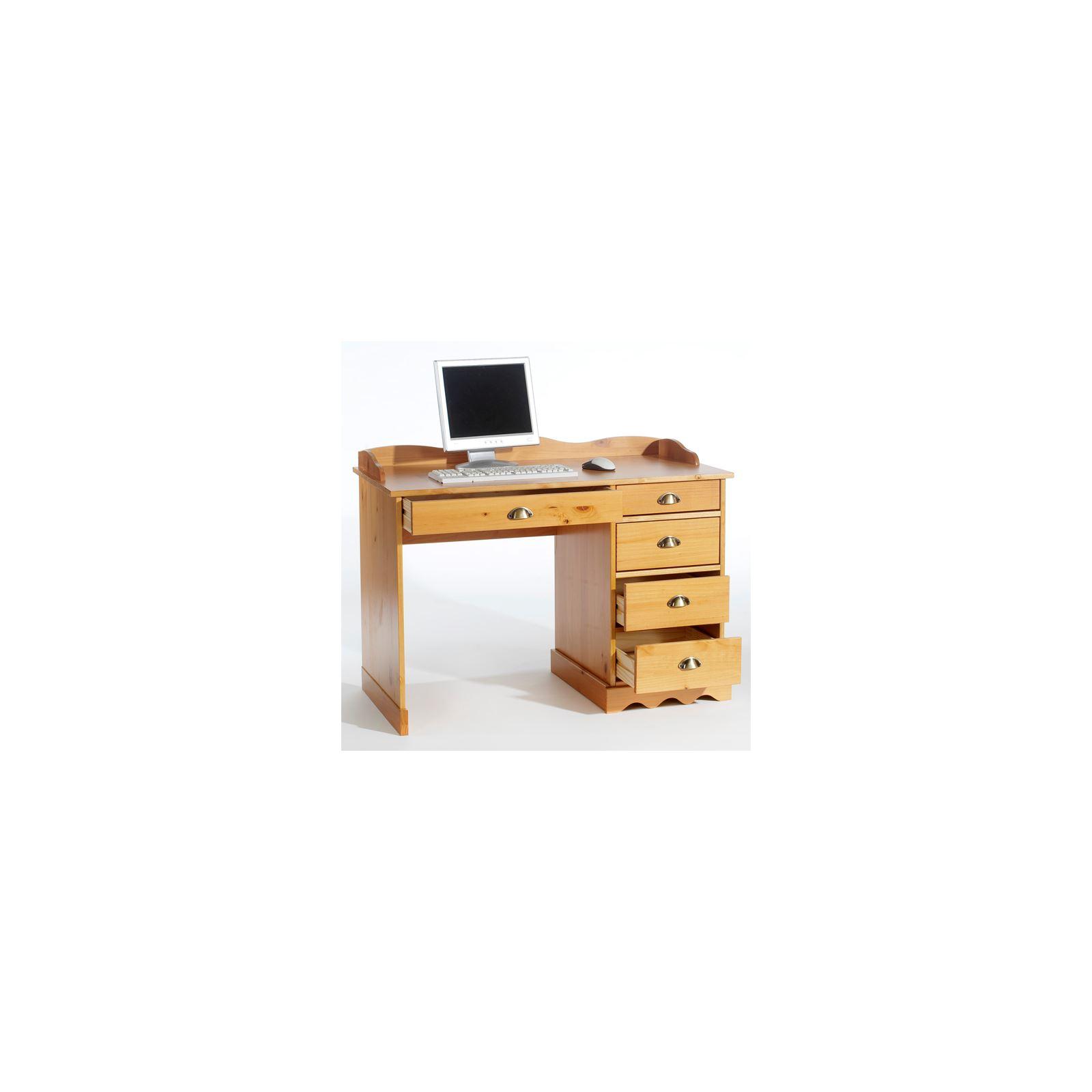 bureau en pin massif colette avec corniche couleur miel. Black Bedroom Furniture Sets. Home Design Ideas