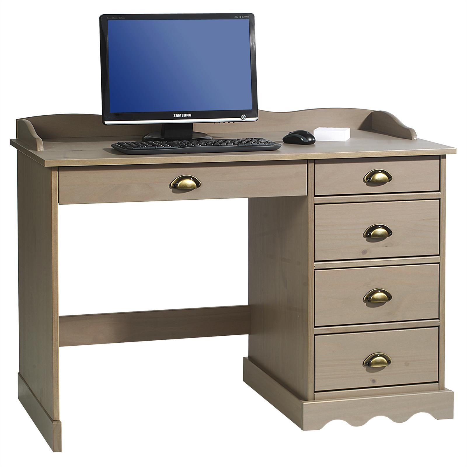 bureau en pin massif colette avec corniche lasur taupe mobil meubles. Black Bedroom Furniture Sets. Home Design Ideas