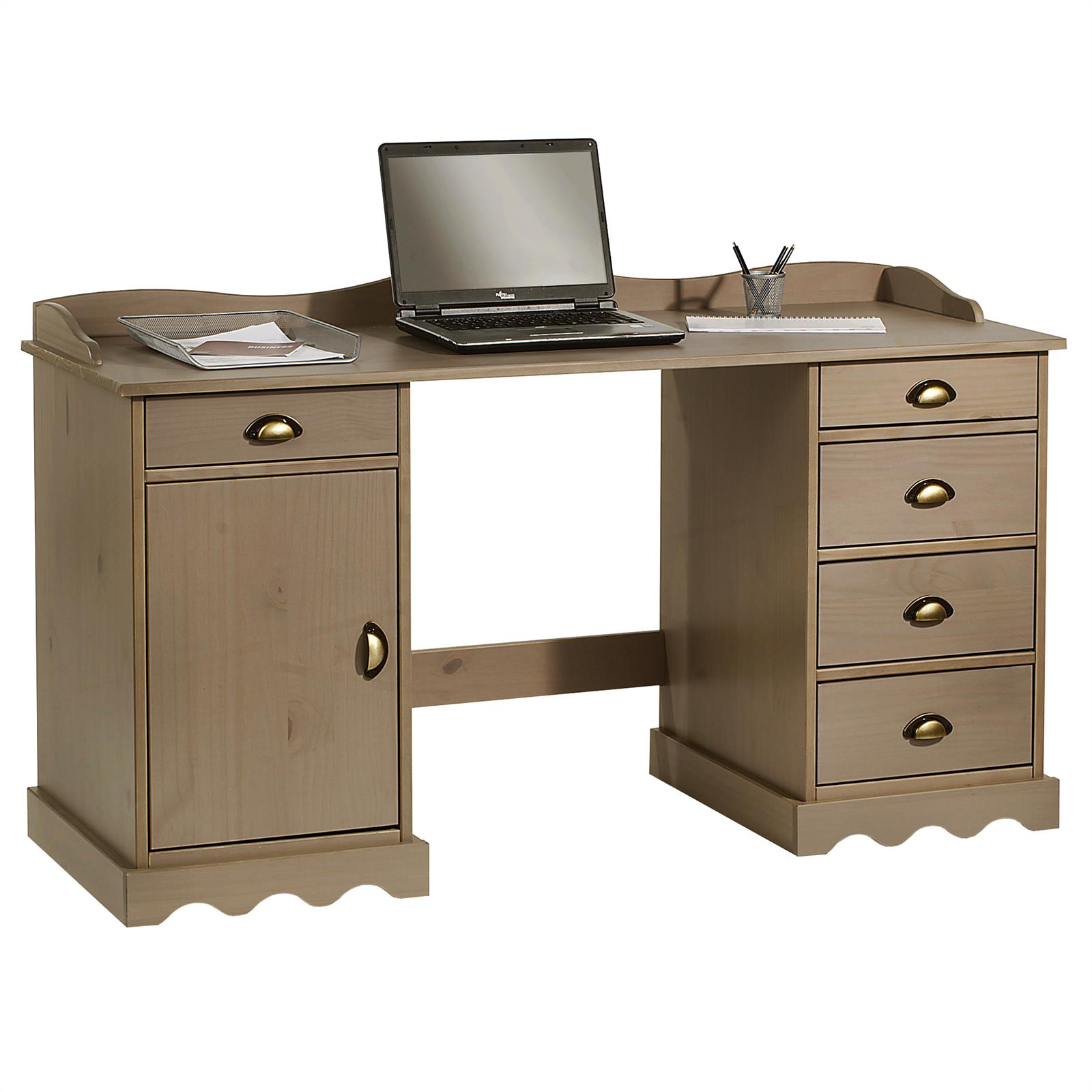 bureau en pin massif sandrine avec corniche lasur taupe mobil meubles. Black Bedroom Furniture Sets. Home Design Ideas