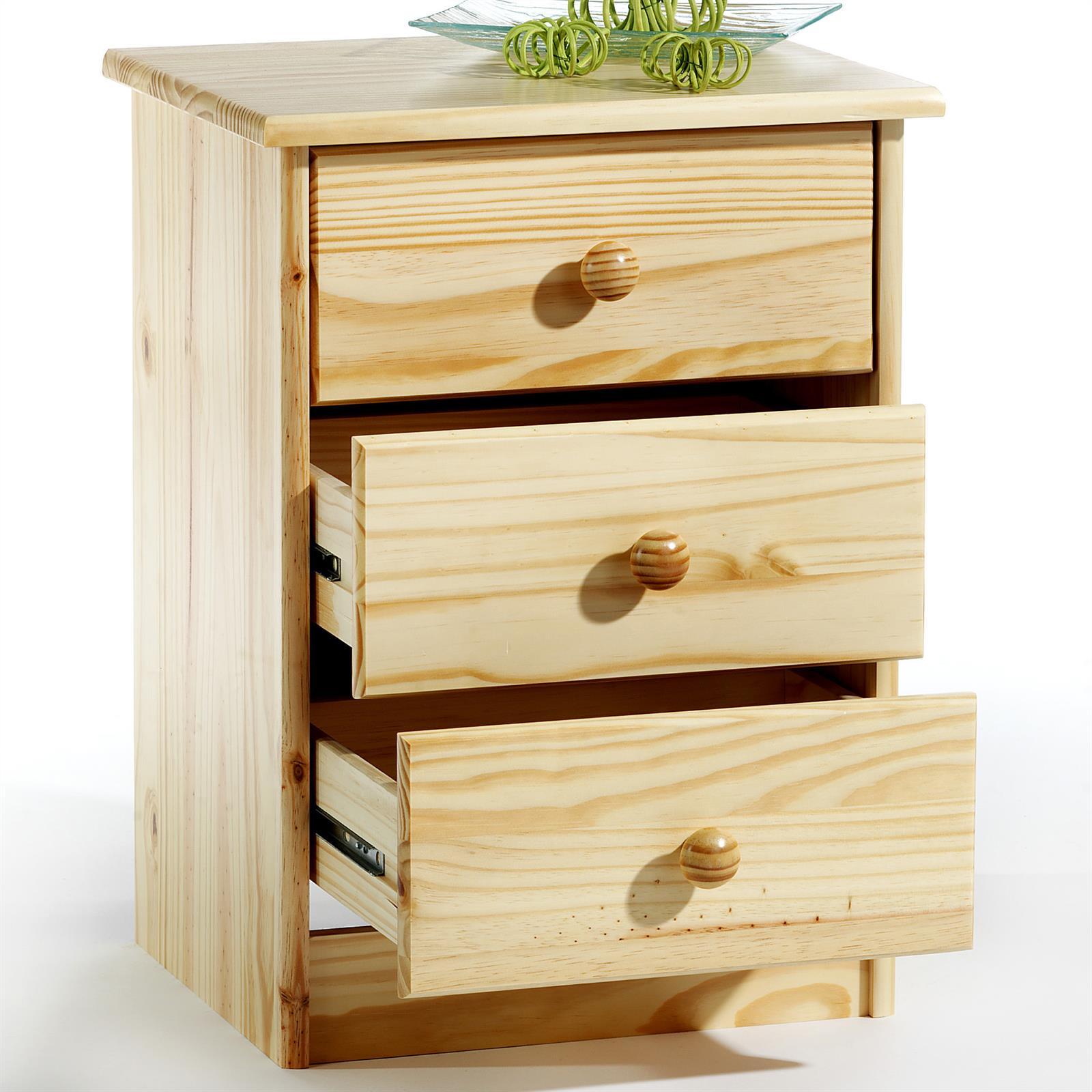 Table de chevet en pin rondo vernis naturel mobil meubles - Table de chevet en pin ...