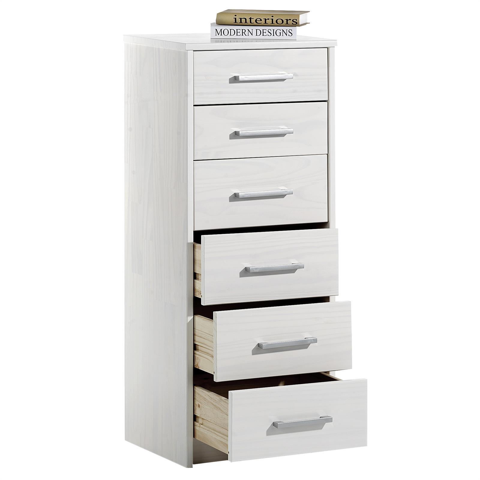 Chiffonnier en pin tessa 2 4 tiroirs lasur blanc mobil meubles - Chiffonnier 4 tiroirs ...