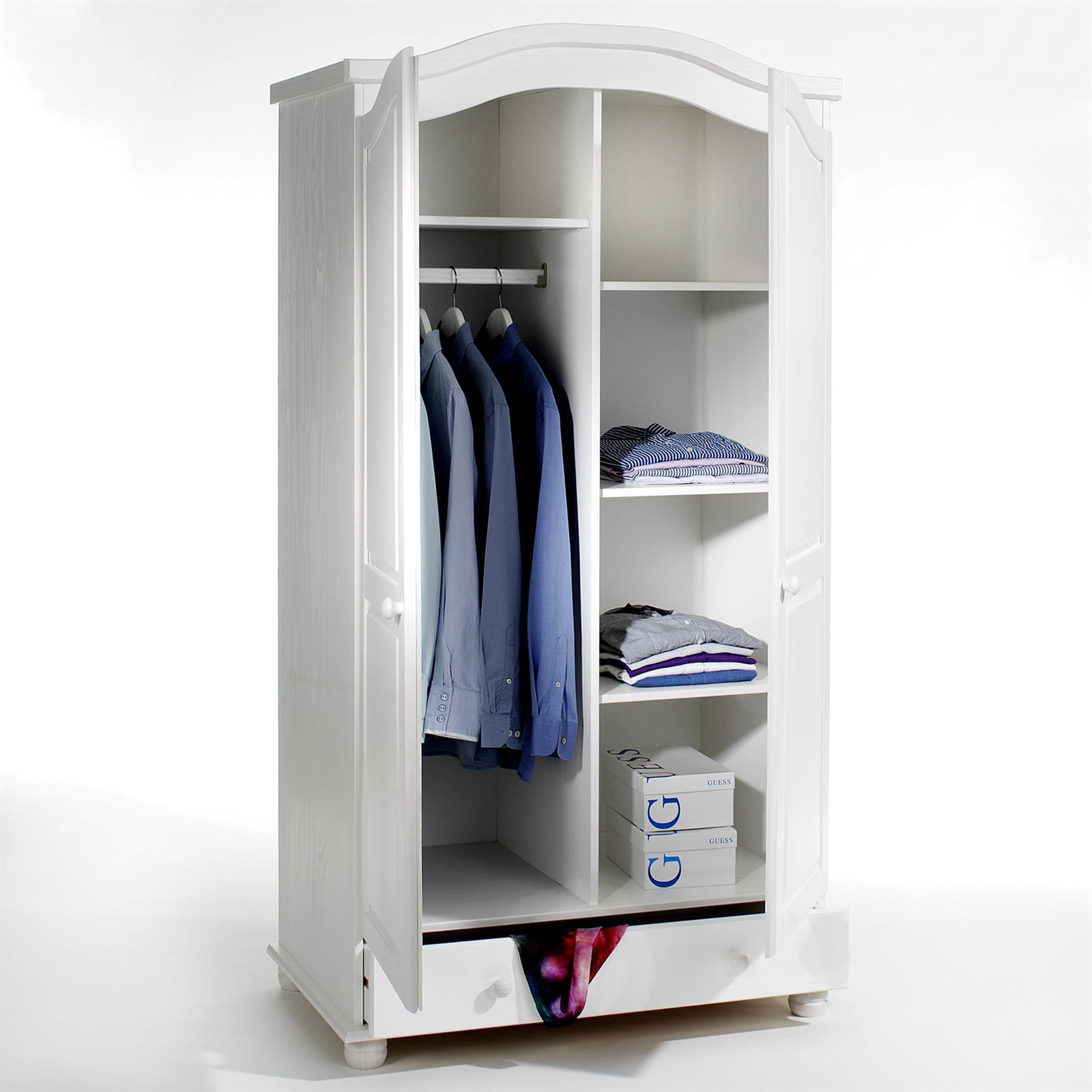 Armoire en pin bergen lasur blanc mobil meubles - Armoire en pin blanc ...