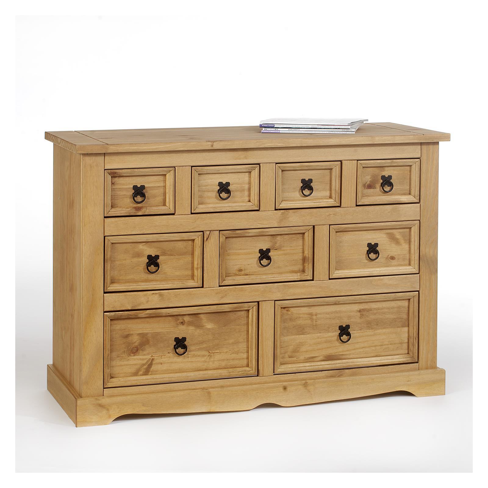 Commode en pin tequila style mexicain 9 tiroirs finition for Meuble a chaussure carrefour