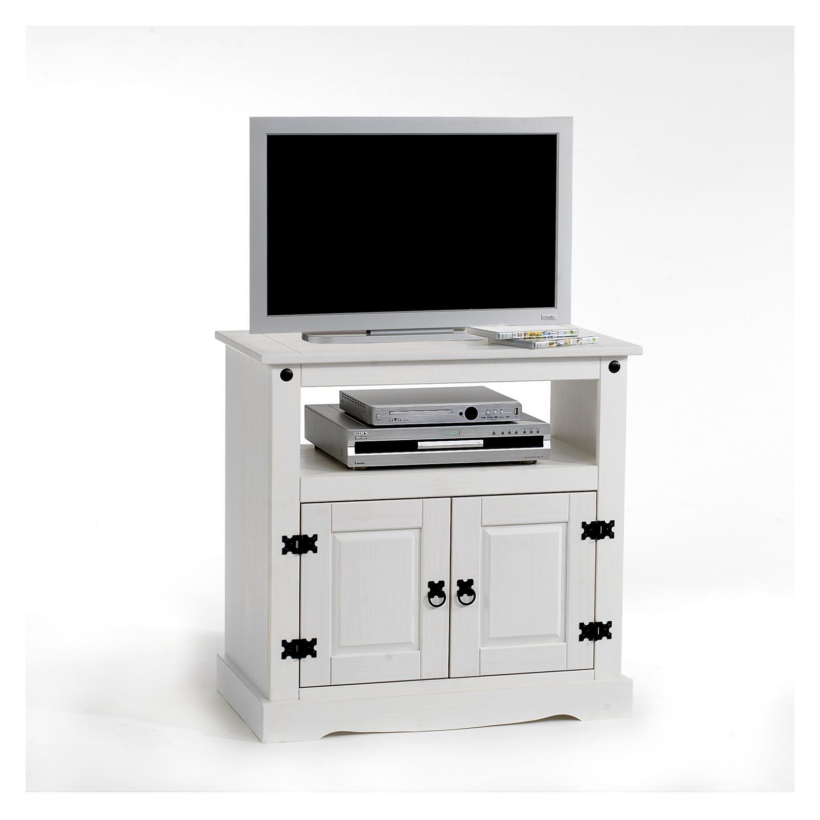 Meuble tv en pin tequila 2 portes 1 niche lasur blanc - Meuble tv pin blanc ...