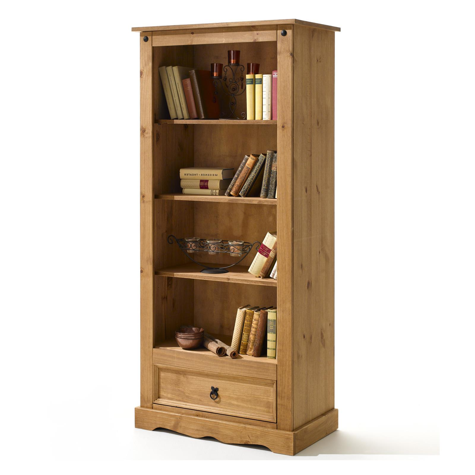 Biblioth que en pin tequila style mexicain finition cir e mobil meubles - Bibliotheque en pin massif ...