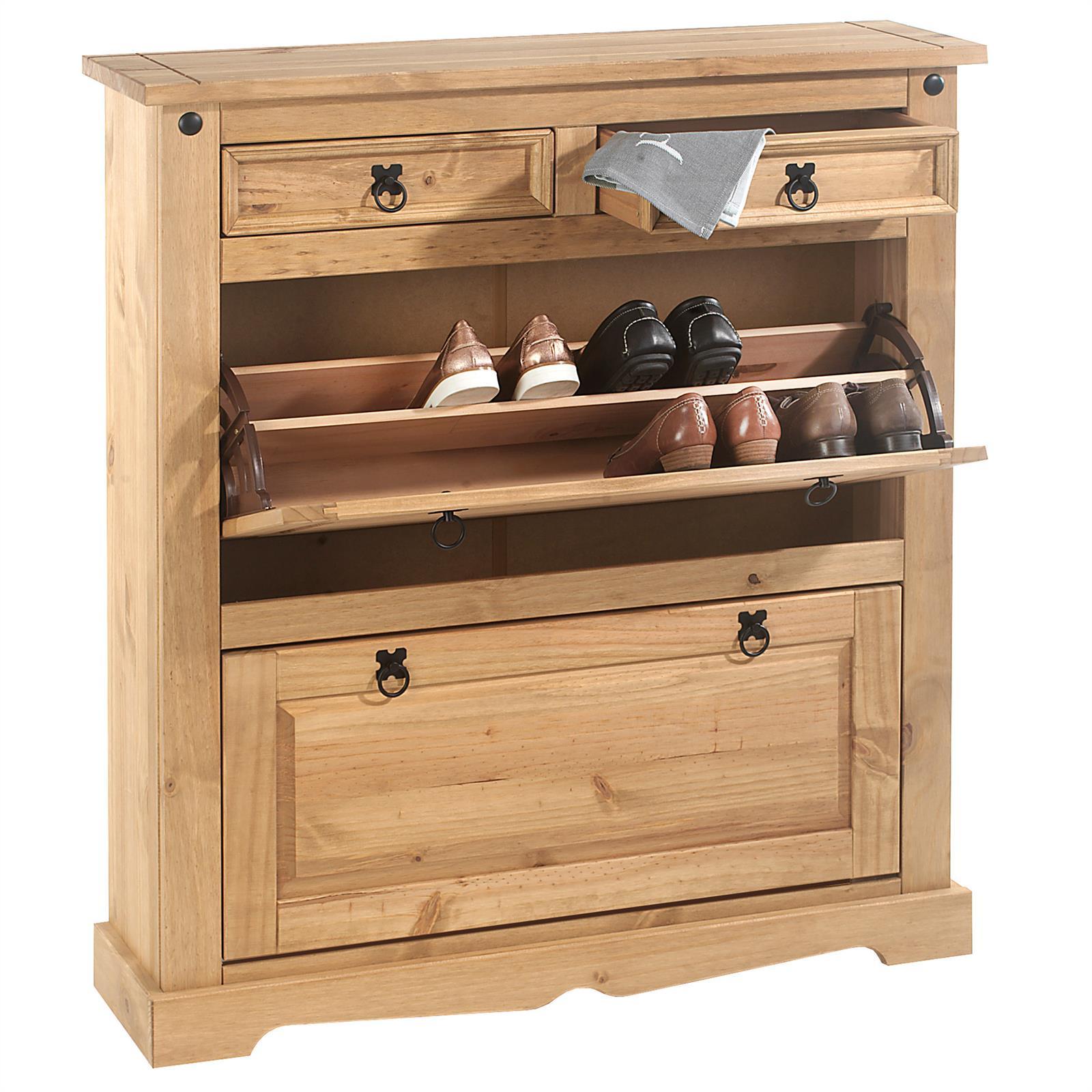 meuble chaussures en pin tequila style mexicain 2 abattants et 2 tiroirs finition cir e. Black Bedroom Furniture Sets. Home Design Ideas