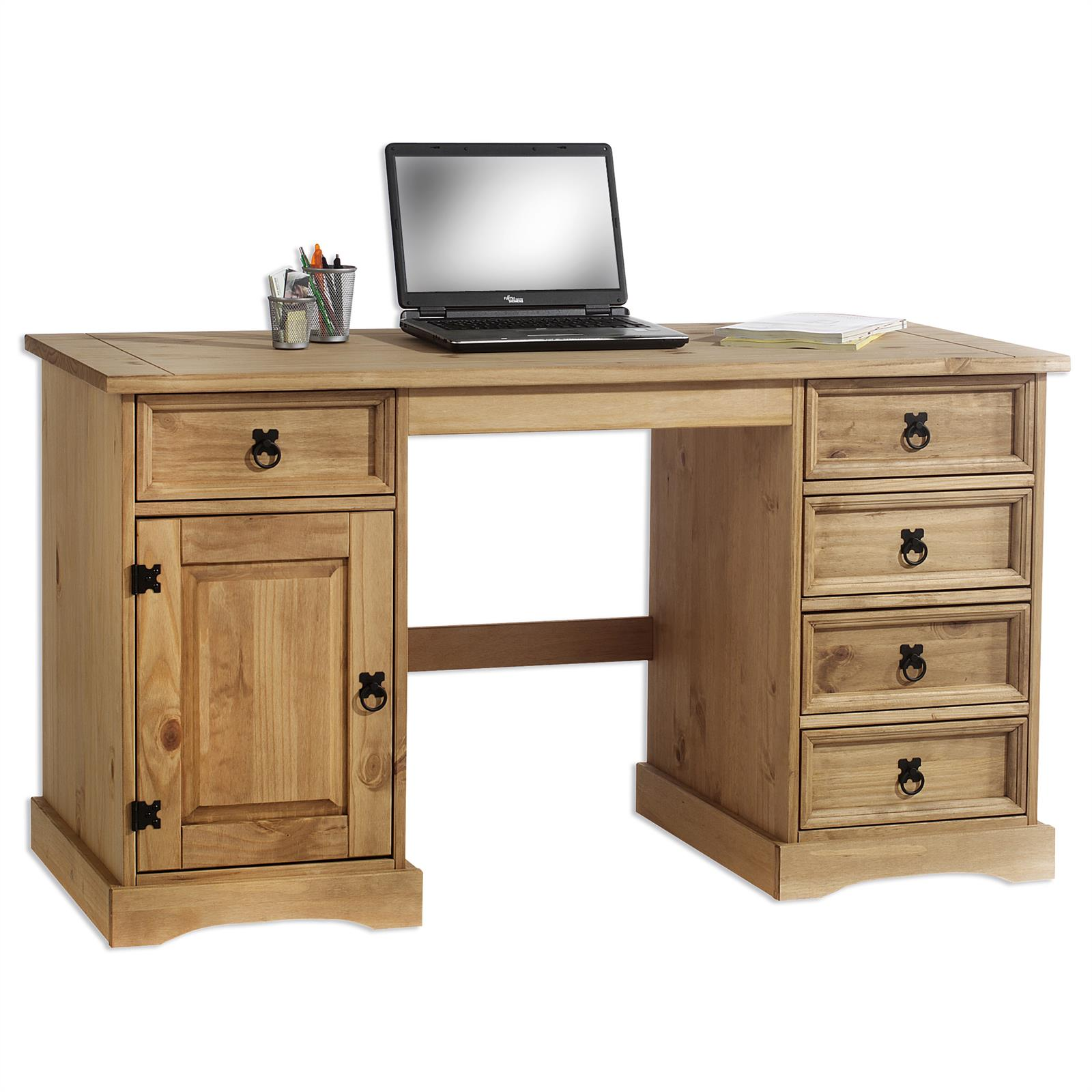 Bureau en pin tequila style mexicain finition cir e mobil meubles - Bureau en pin massif ...