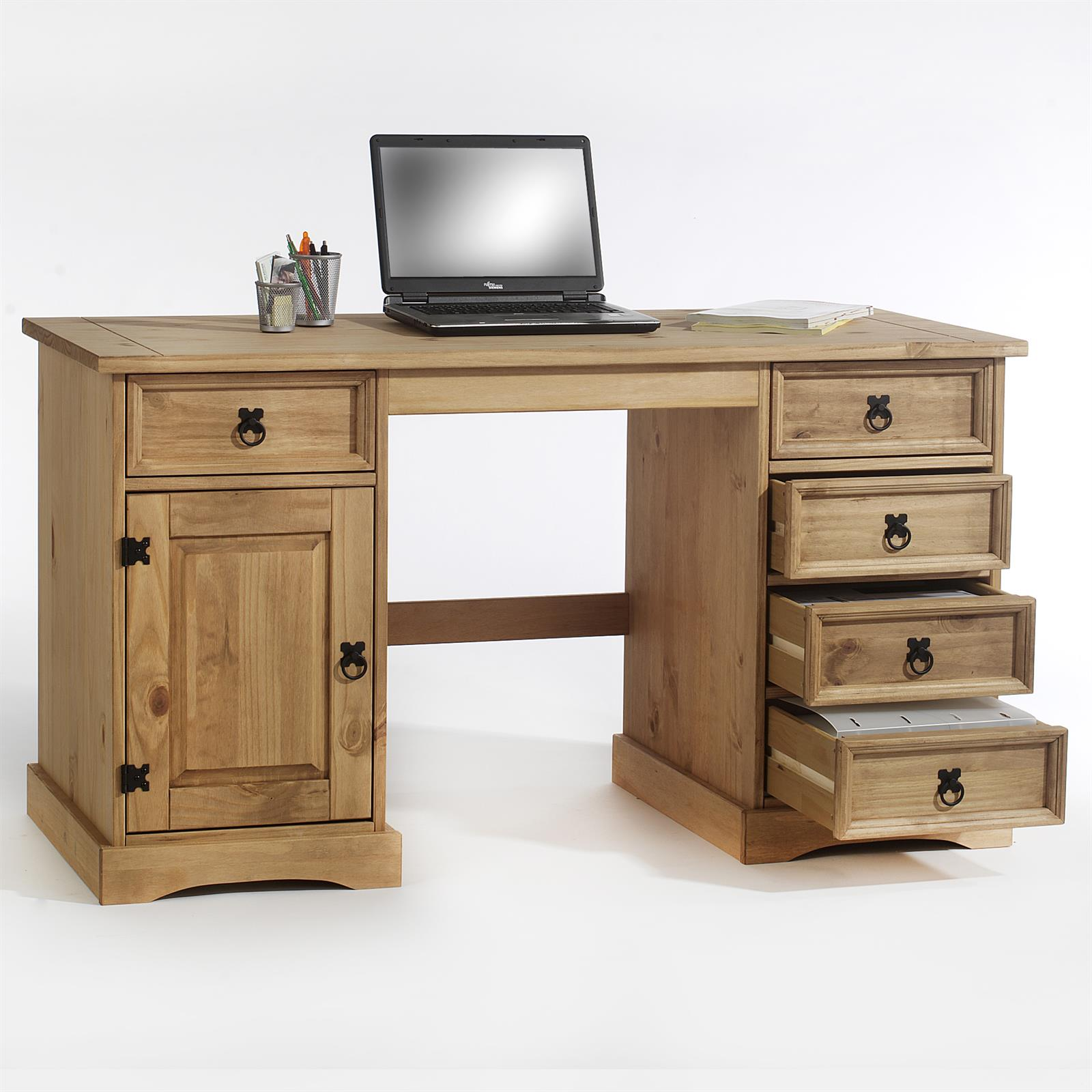 Bureau en pin tequila style mexicain finition cir e for Petit bureau pin