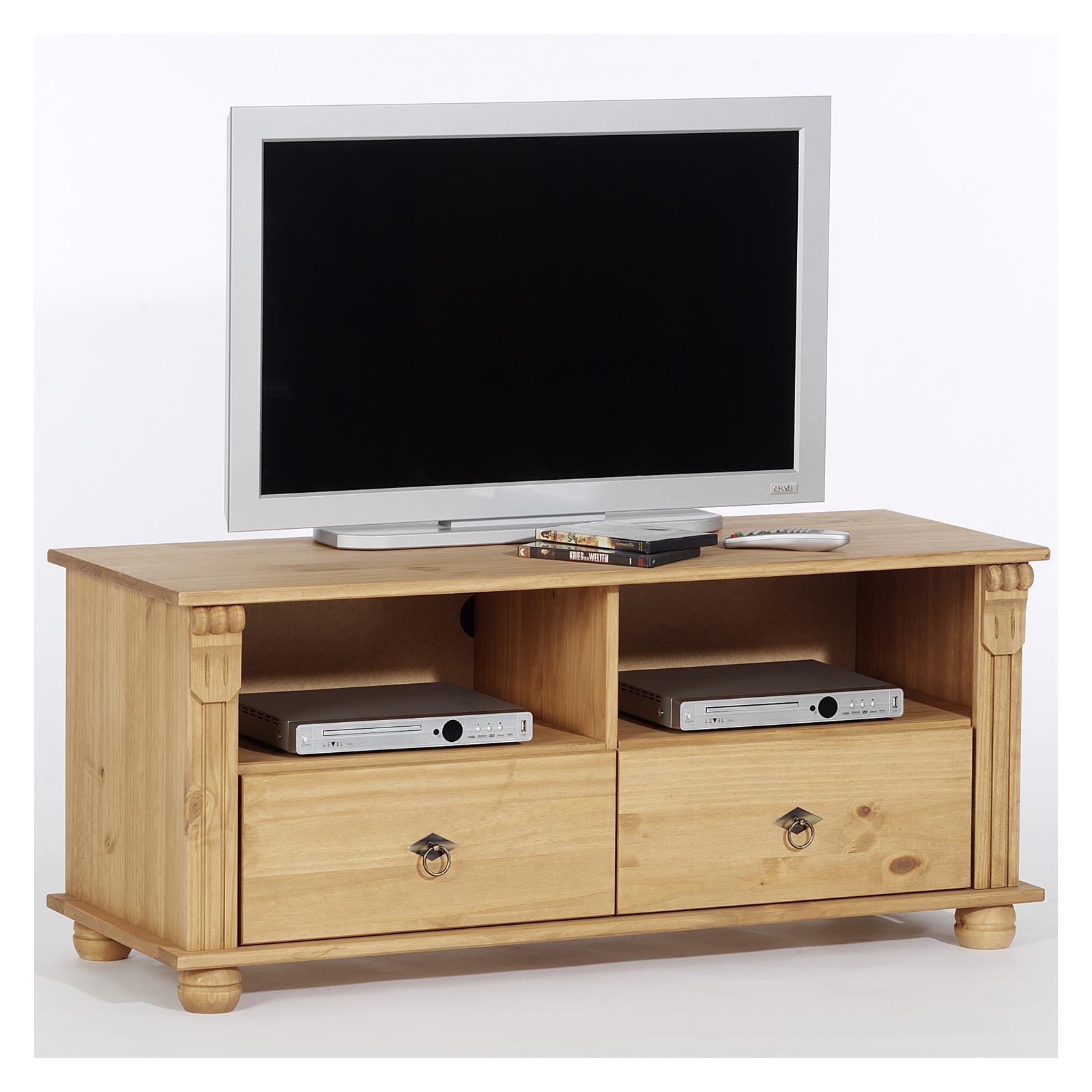 Meuble tv en pin bologna finition cir e mobil meubles for Meuble tv en pin
