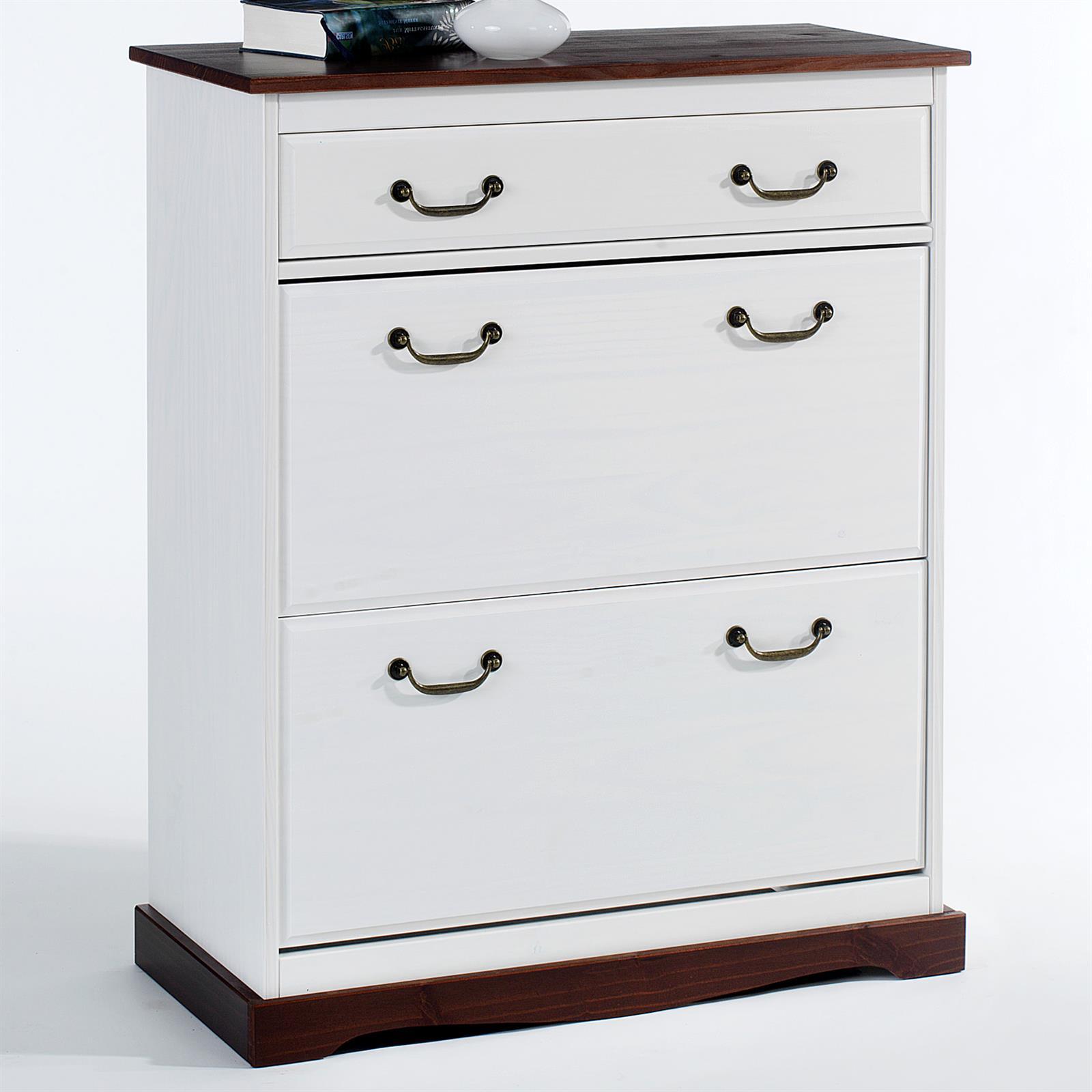 meuble chaussures en pin siena lasur blanc brun mobil meubles. Black Bedroom Furniture Sets. Home Design Ideas
