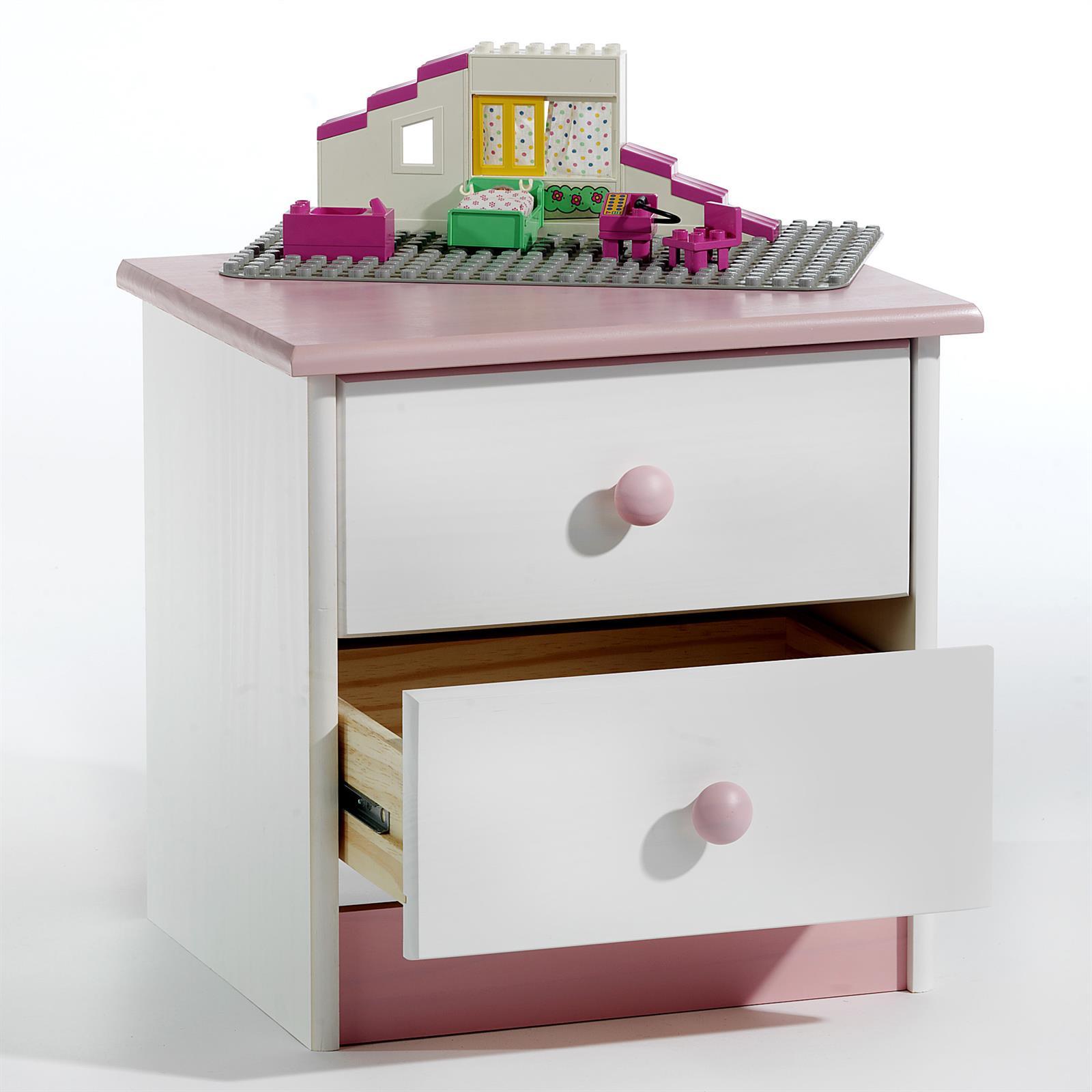 table de chevet en pin rondo lasur blanc rose mobil meubles. Black Bedroom Furniture Sets. Home Design Ideas