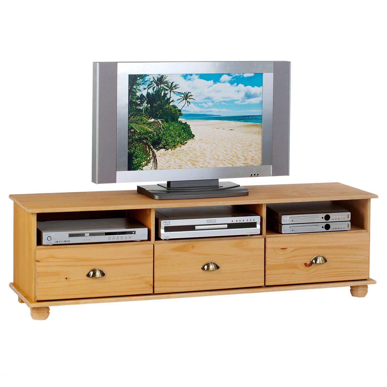 Meuble tv en pin colmar 3 tiroirs 3 niches finition for Meuble tv niche